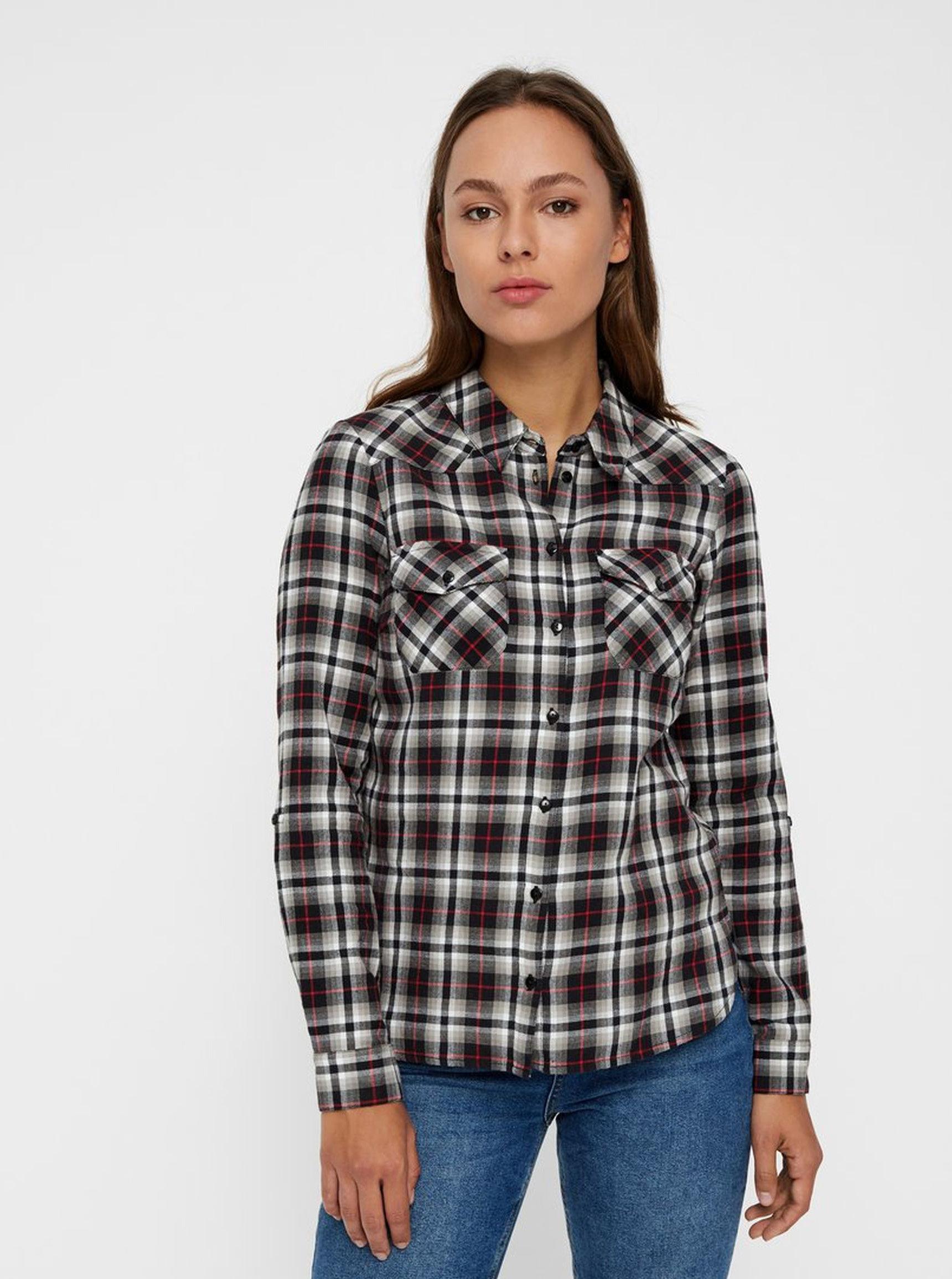 Béžovo-černá kostkovaná flanelová košile Noisy May ... 130a1662f5