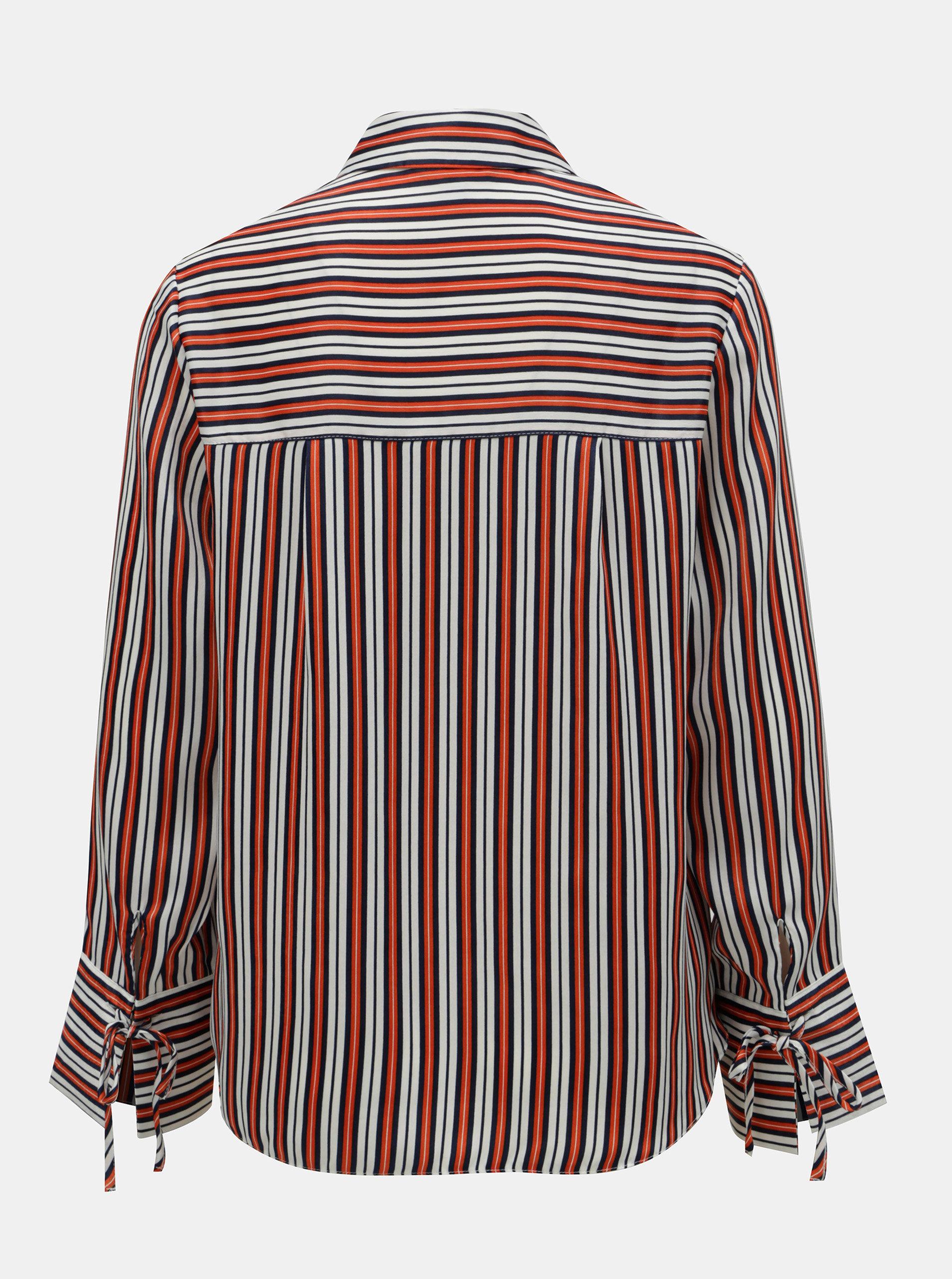 27345fb0d910 Bielo–oranžová pruhovaná košeľa Dorothy Perkins ...