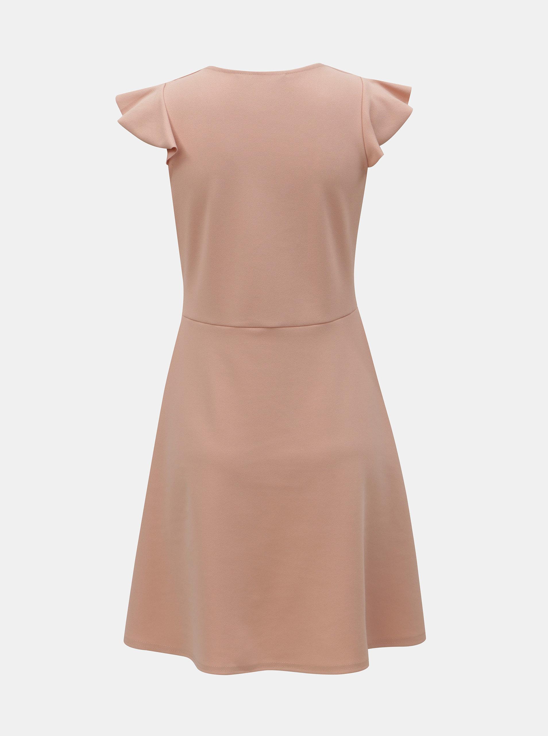 Světle růžové šaty s volánem na rukávu Dorothy Perkins ... 848401348d