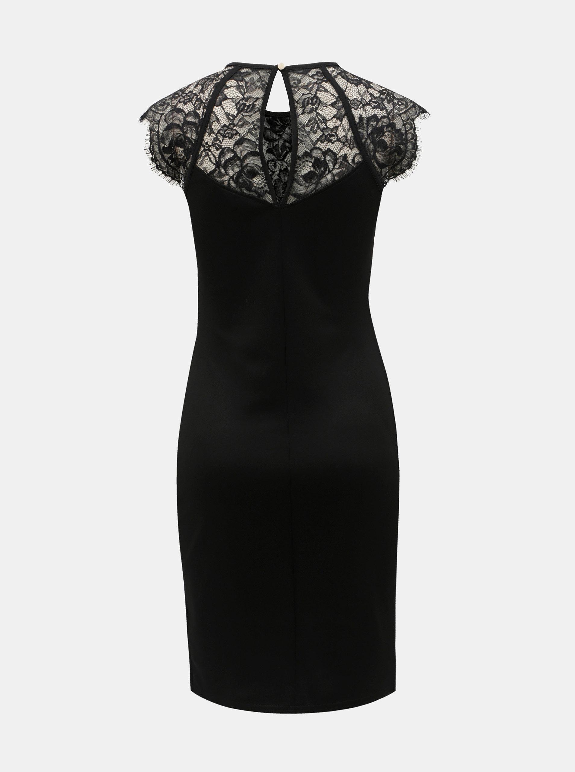 aeb9a00a8cb Černé pouzdrové šaty s krajkou a řasením na boku Dorothy Perkins ...