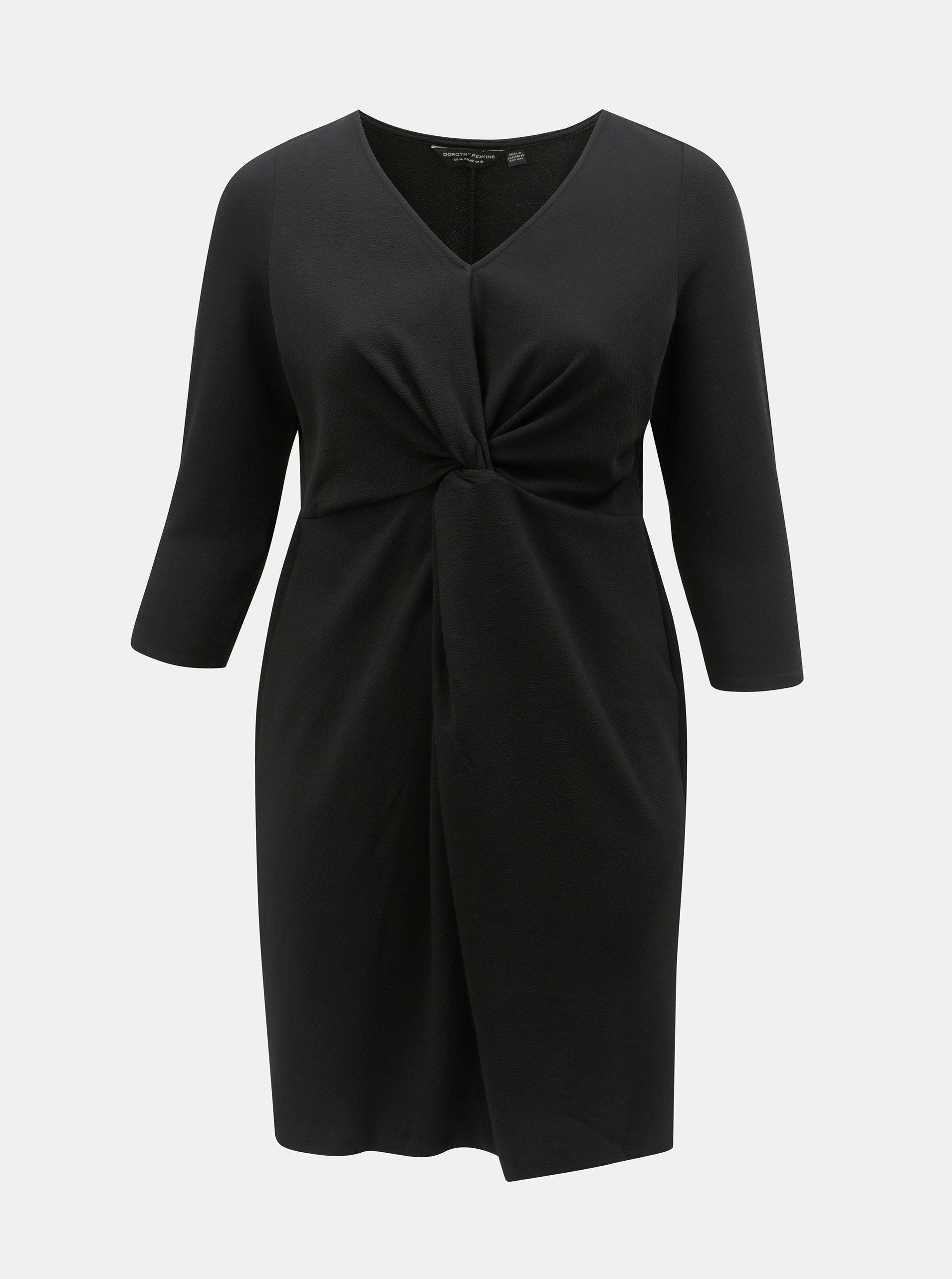 4bce2c191ad4 Černé šaty s řasením na břiše Dorothy Perkins Curve ...