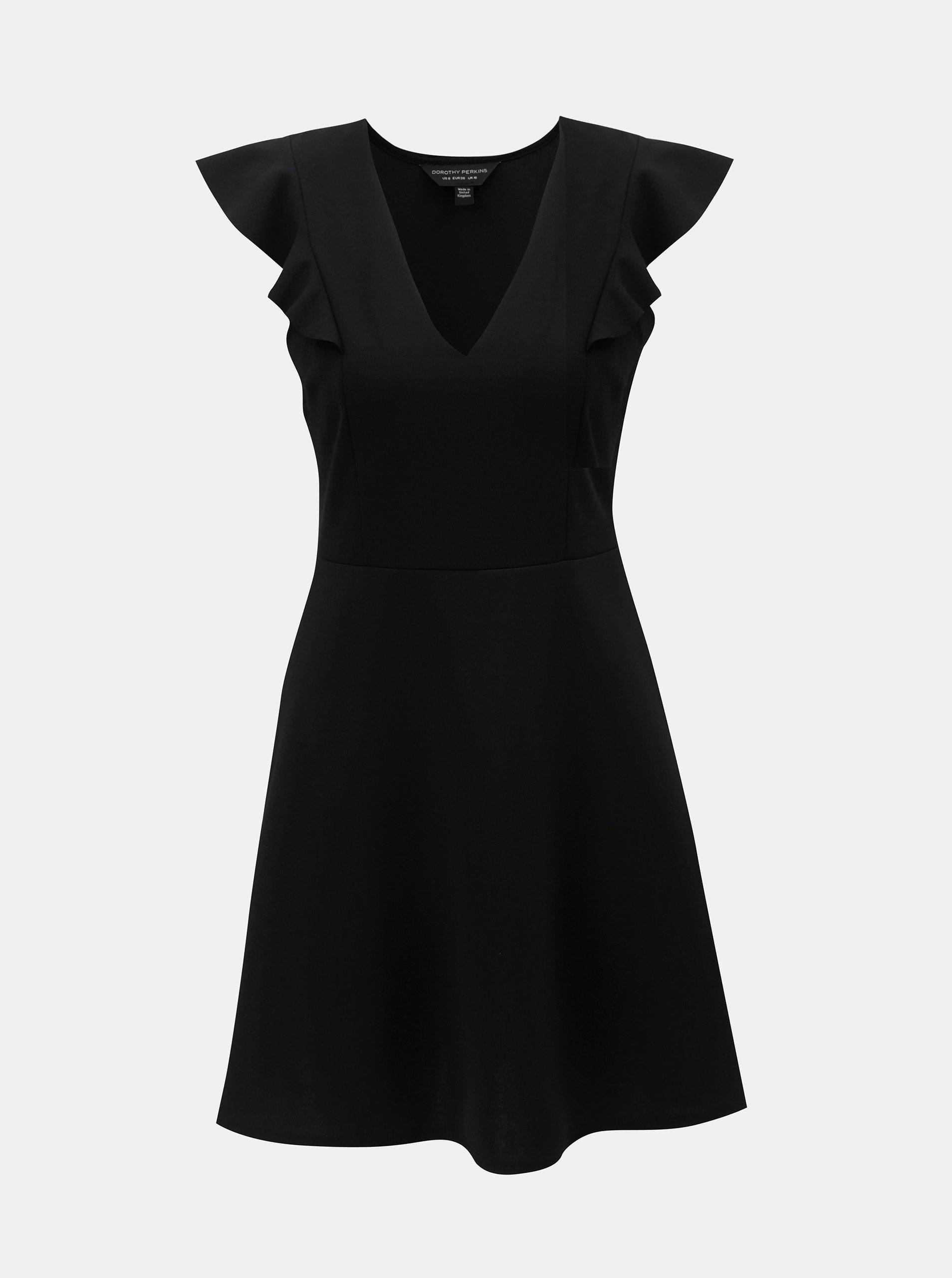 f96320c8d6f Čierne šaty s volánom na rukávoch Dorothy Perkins ...