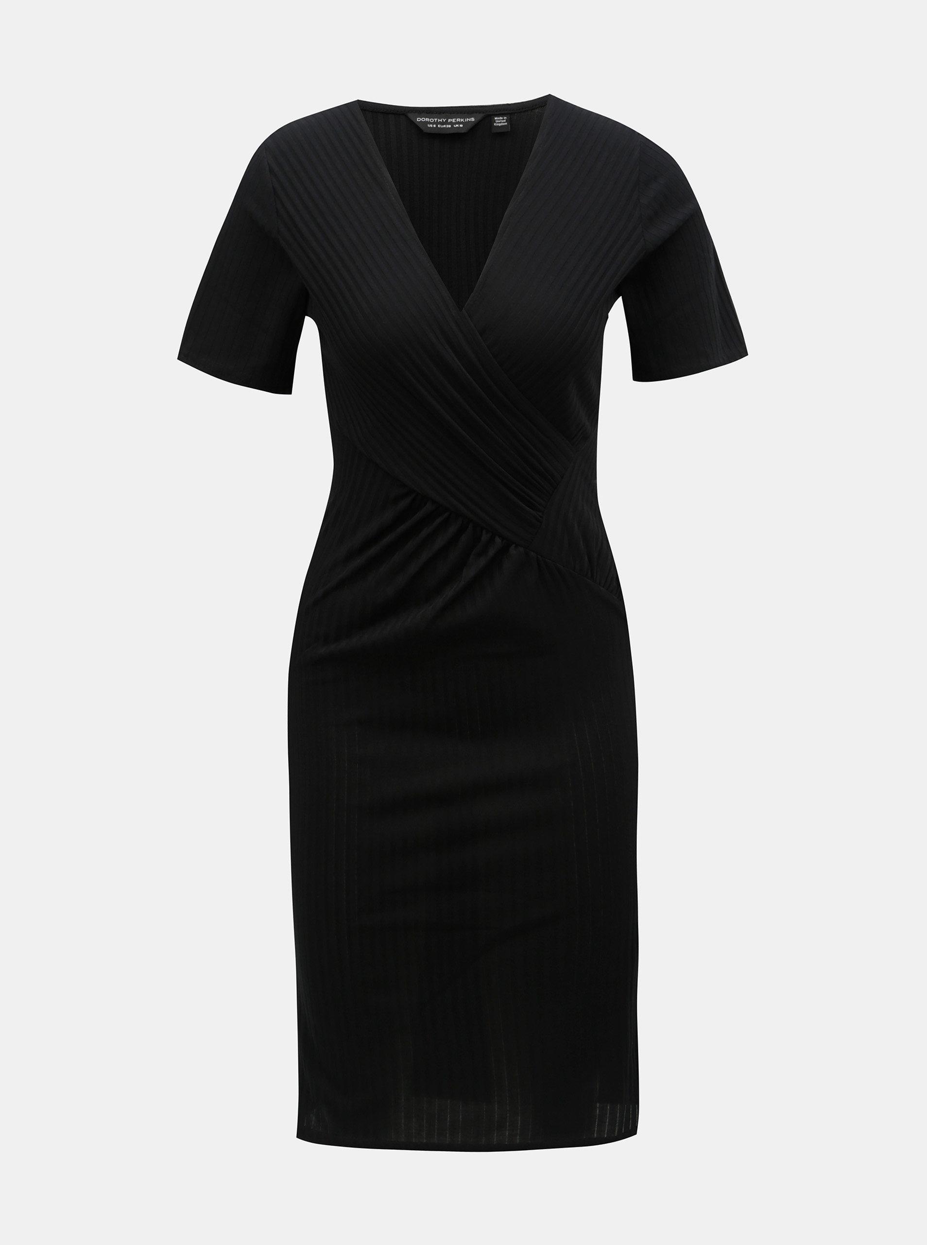 377e7c602749 Čierne puzdrové rebrované šaty s prekladaným výstrihom Dorothy Perkins ...