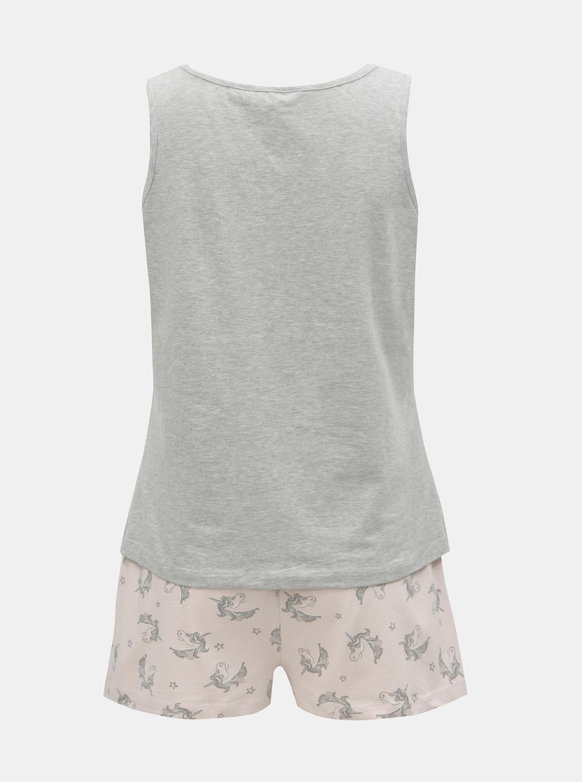 Sivo–ružové dvojdielne pyžamo s motívom jednorožcov Dorothy Perkins ... 012f498a79e