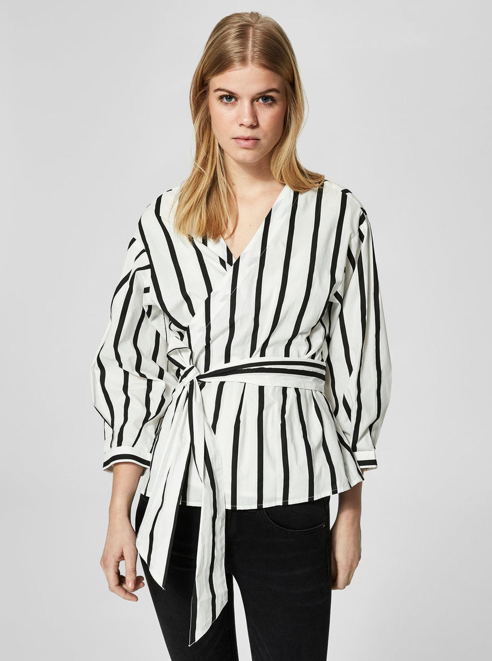 Černo-bílá pruhovaná zavinovací halenka Selected Femme Nadine ... 0592112a55