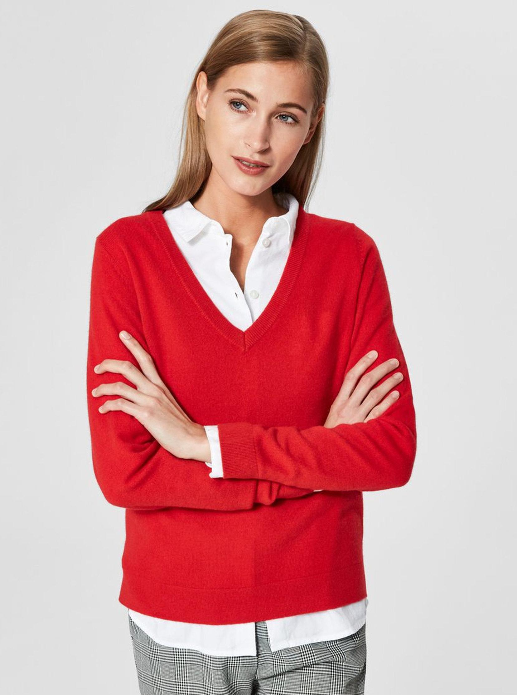 543fc678b5d4 Červený kašmírový sveter Selected Femme Faya ...