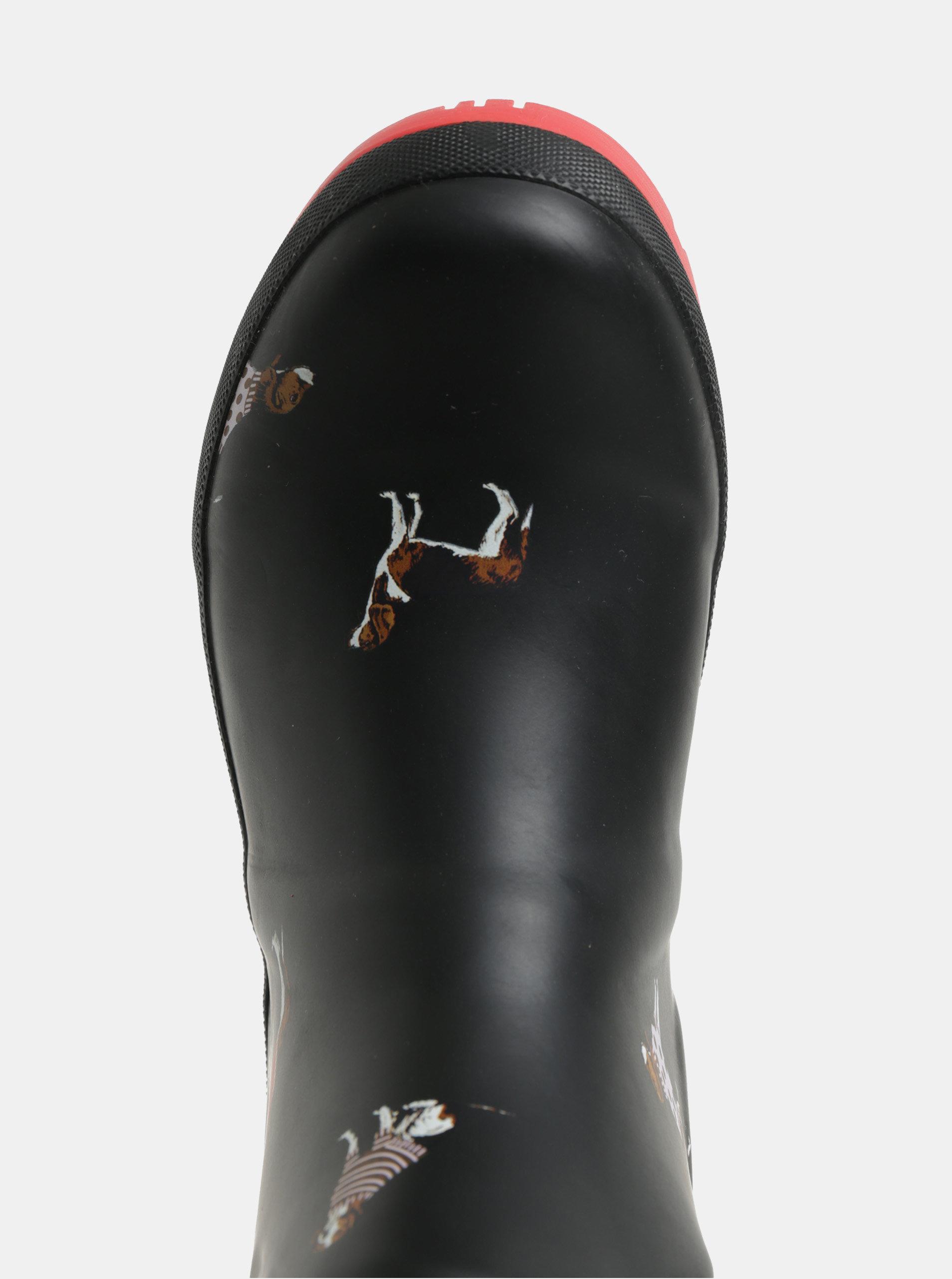 Černé dámské holínky s motivem psů Tom Joule ... c16d0a98430