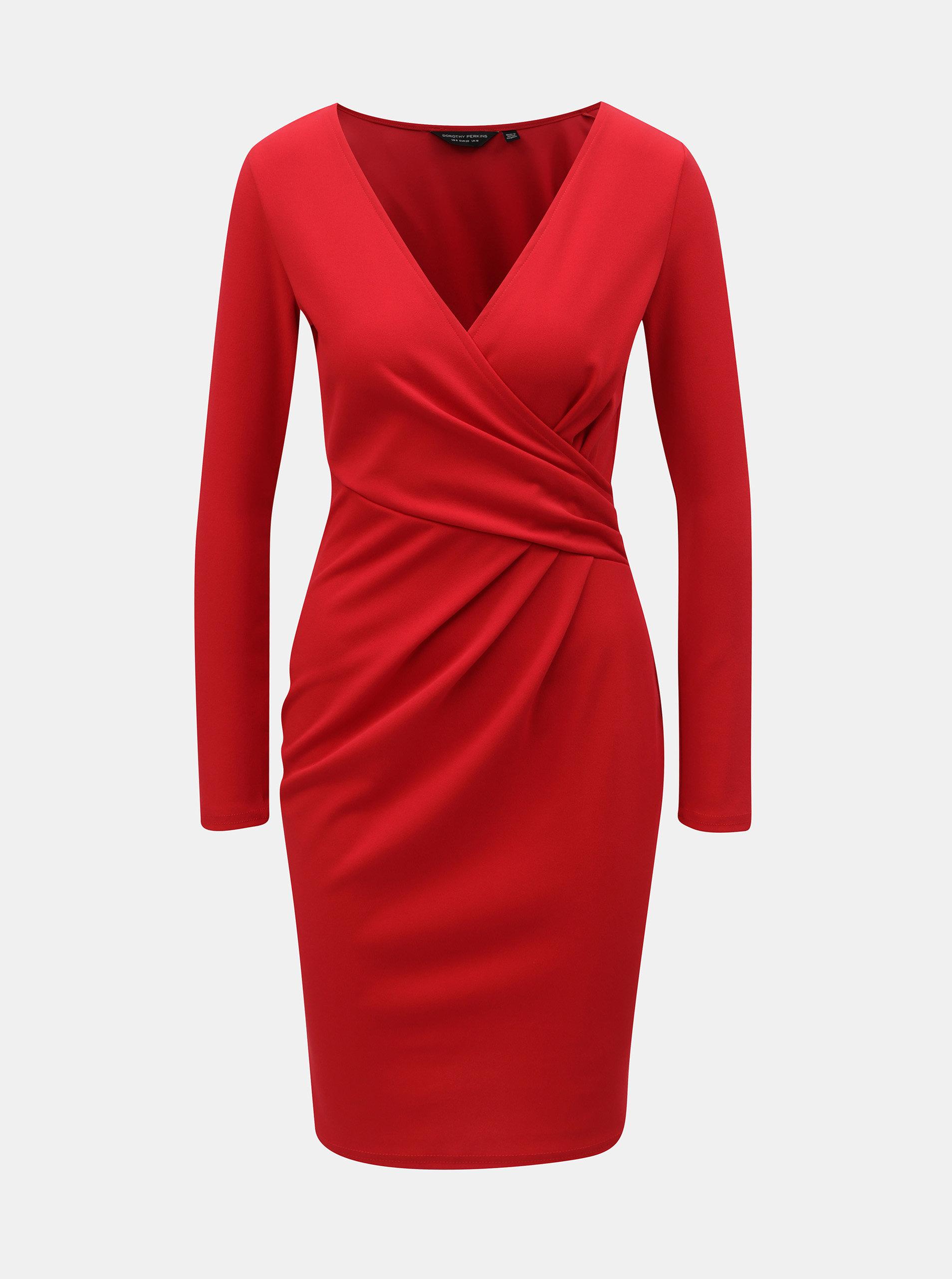 Červené šaty s překládaným výstřihem Dorothy Perkins ... 12de771bfa