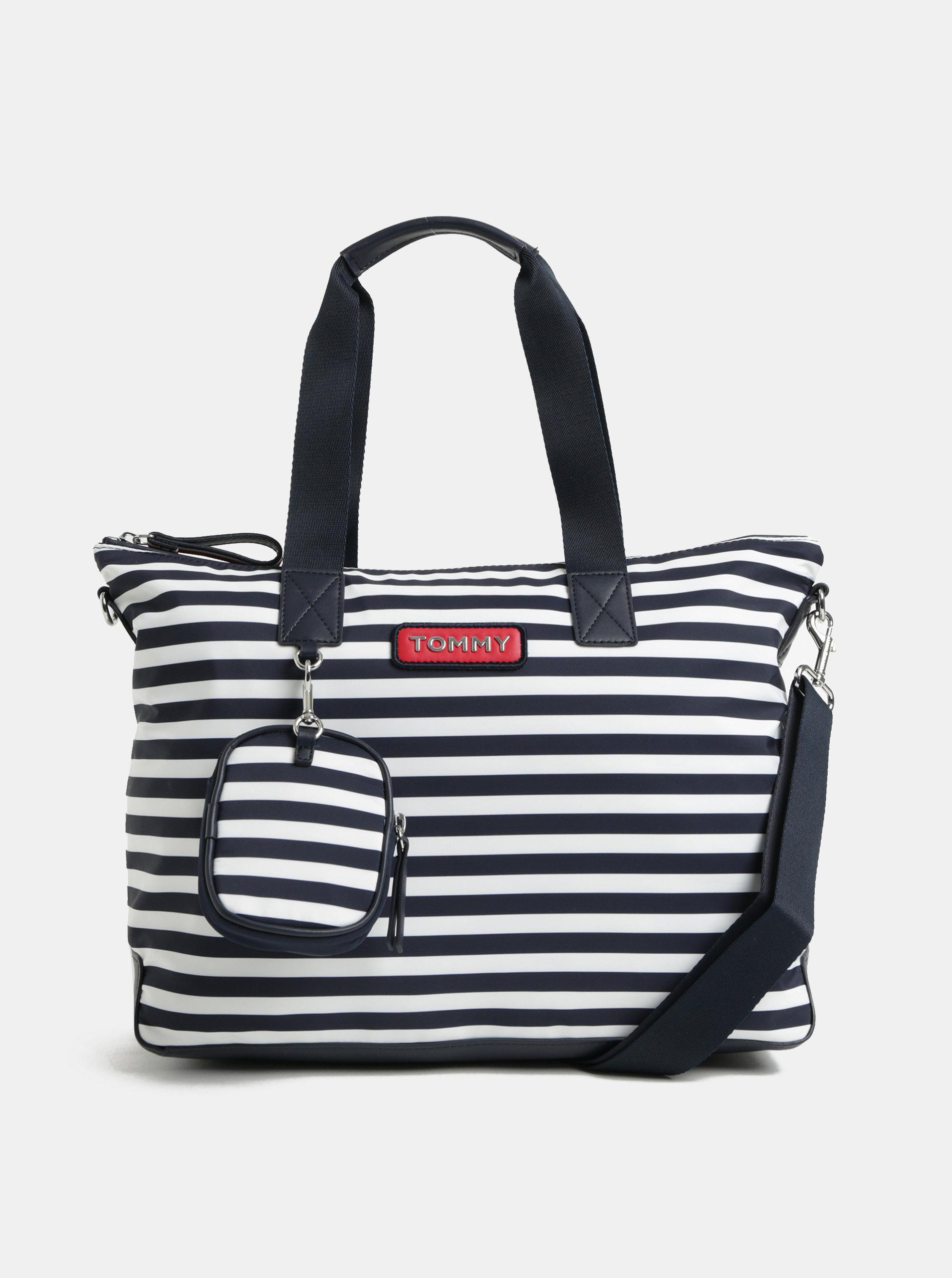 Bielo–modrá pruhovaná kabelka s odnímateľným puzdrom Tommy Hilfiger ... caab6c5d8b7