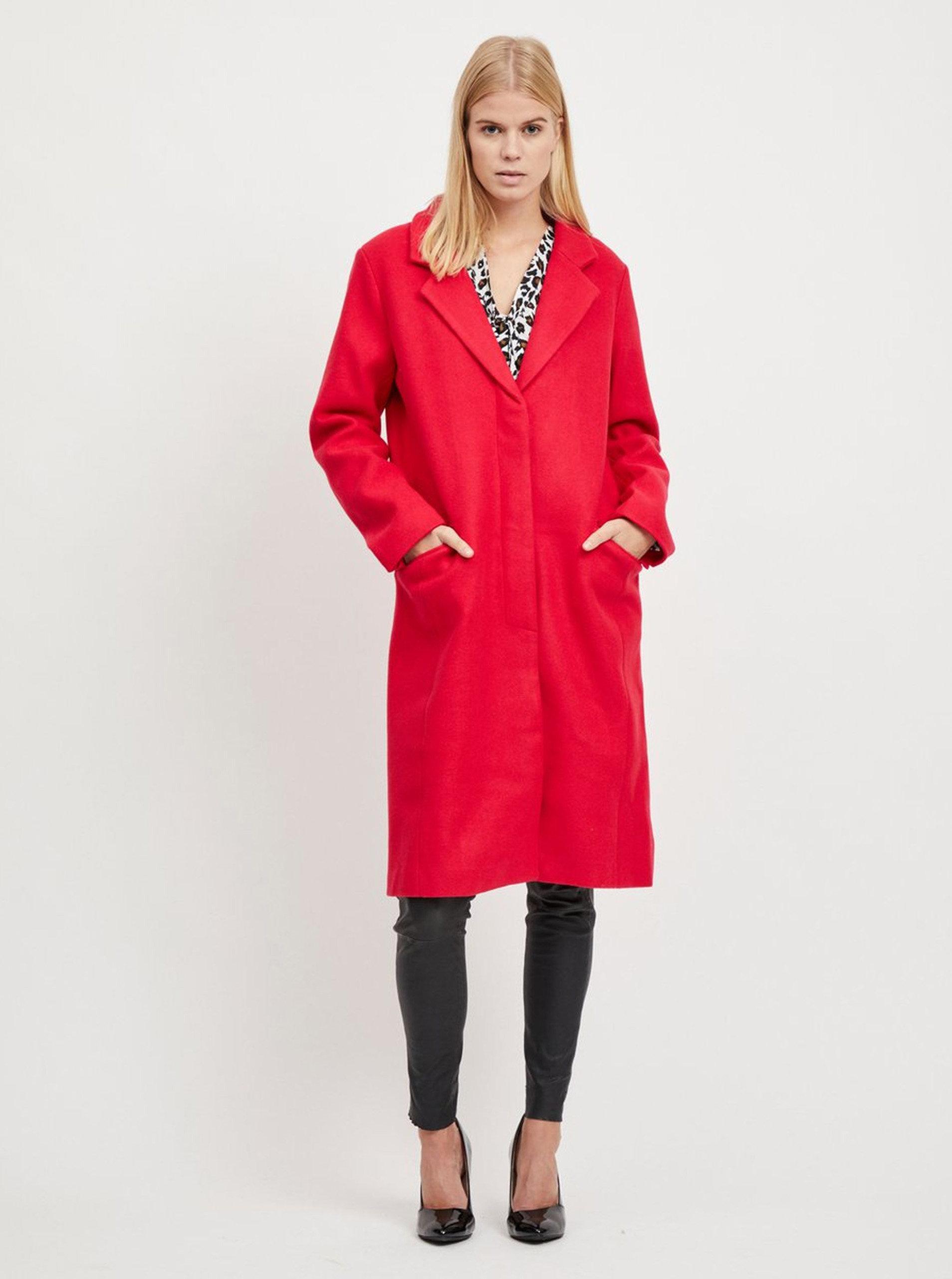 Červený kabát s příměsí vlny VILA ... 768ea00cd4