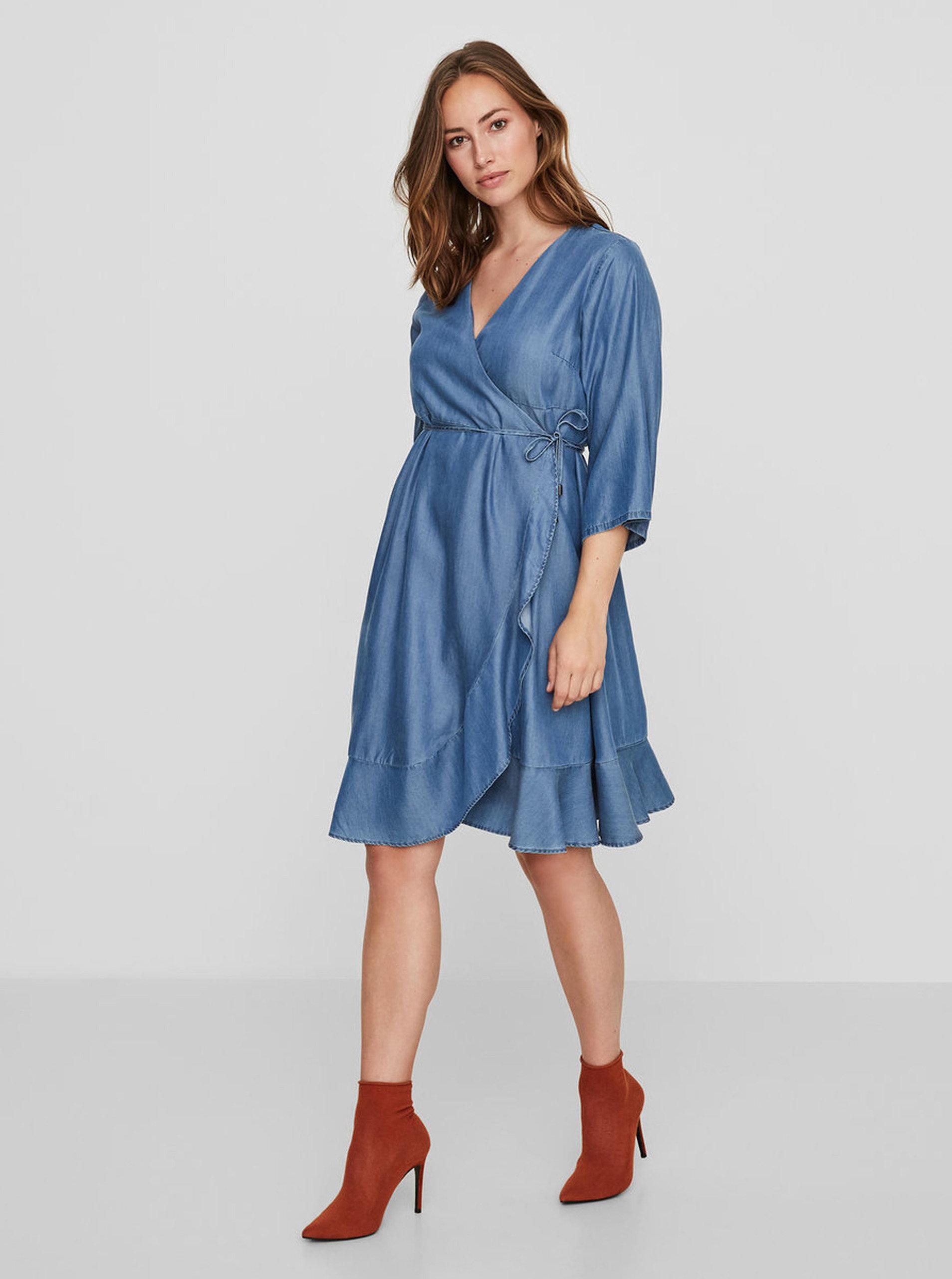 Modré tehotenské zavinovacie šaty Mama.licious Isaella ... 6f0c7a18c30