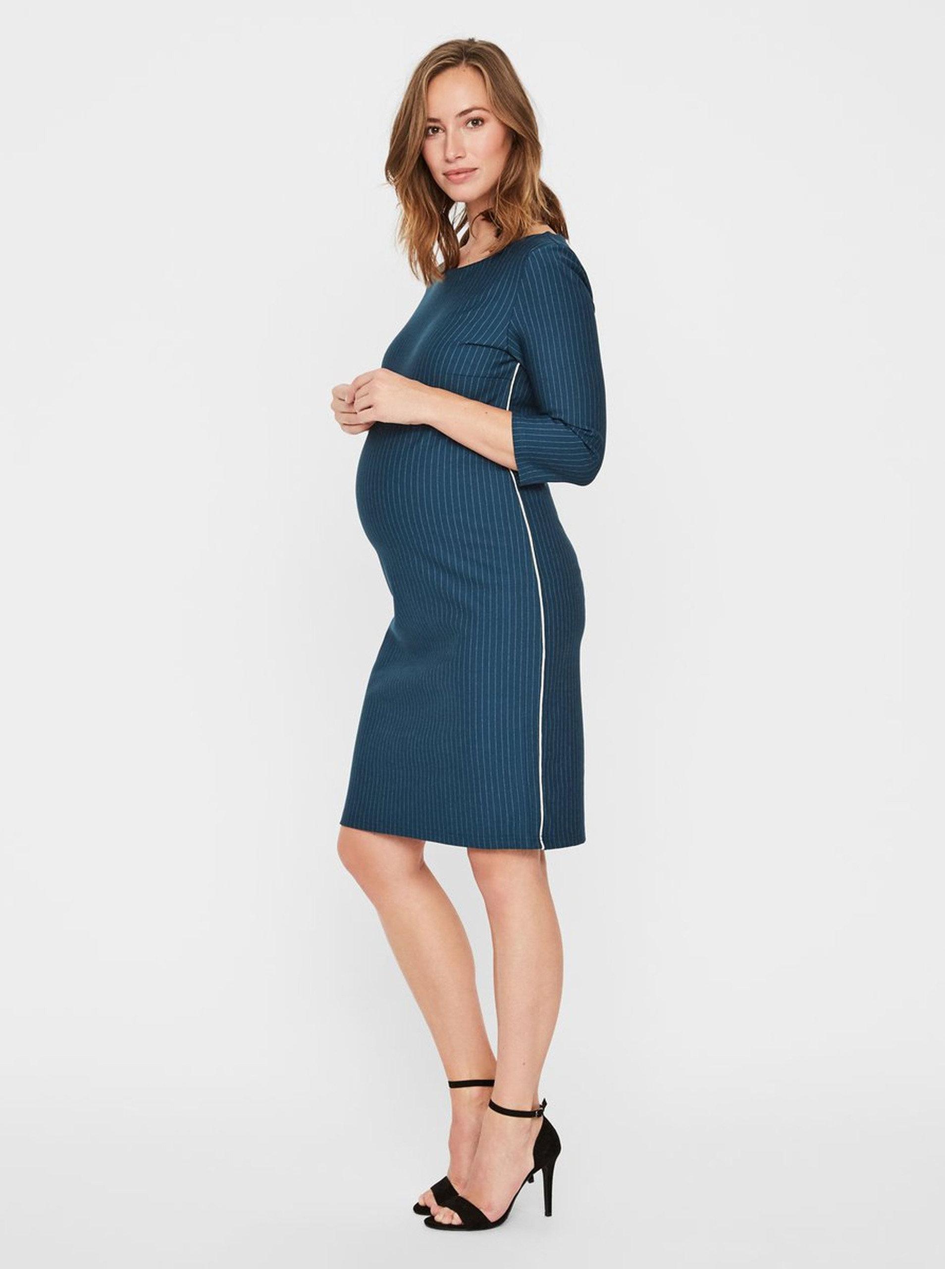 7b13e9641772 Petrolejové těhotenské vzorované šaty s páskem Mama.licious Hanna ...