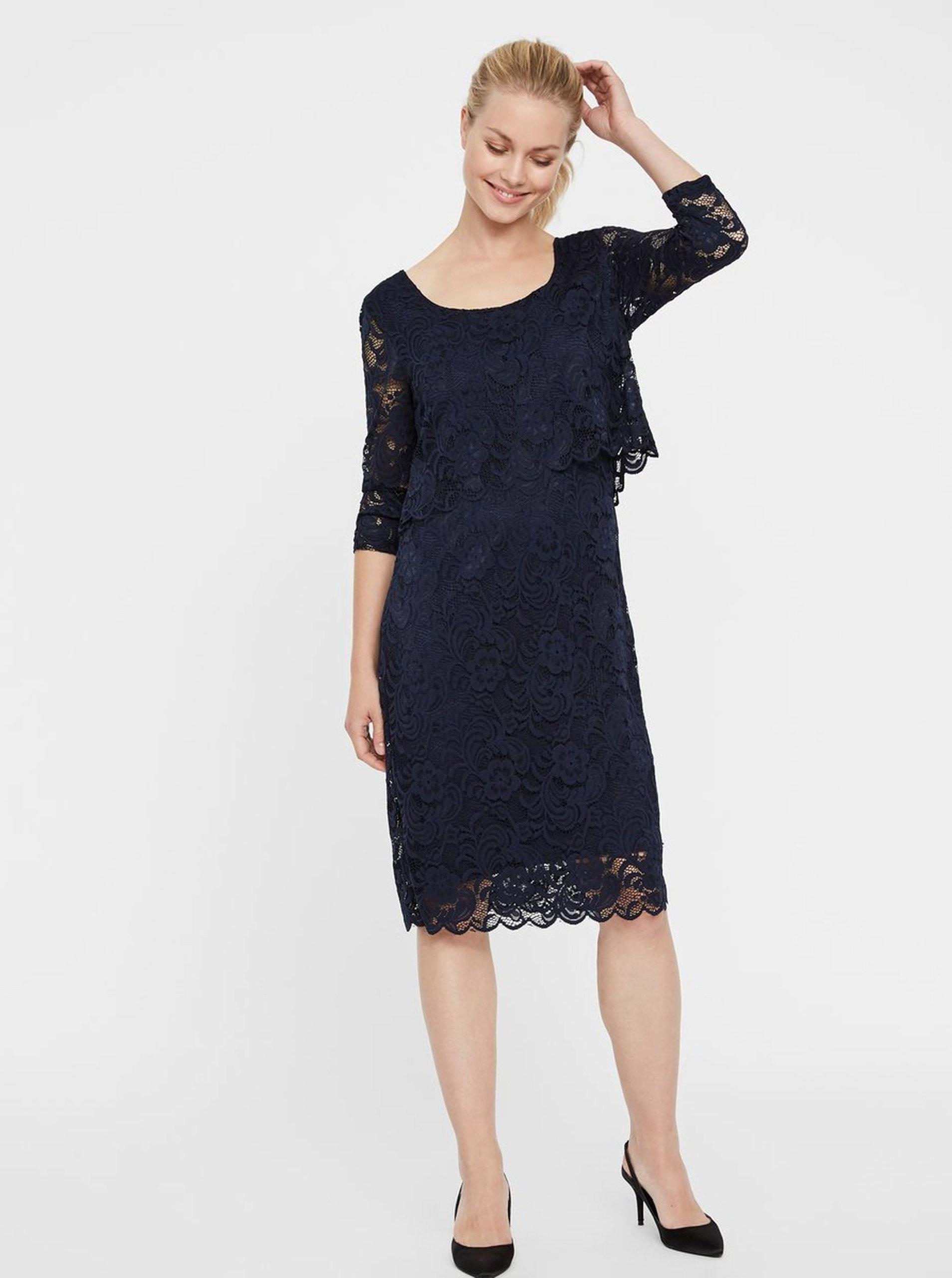 2705b023967 Tmavě modré krajkové těhotenské kojicí šaty s 3 4 rukávy Mama.licious  Mivane ...
