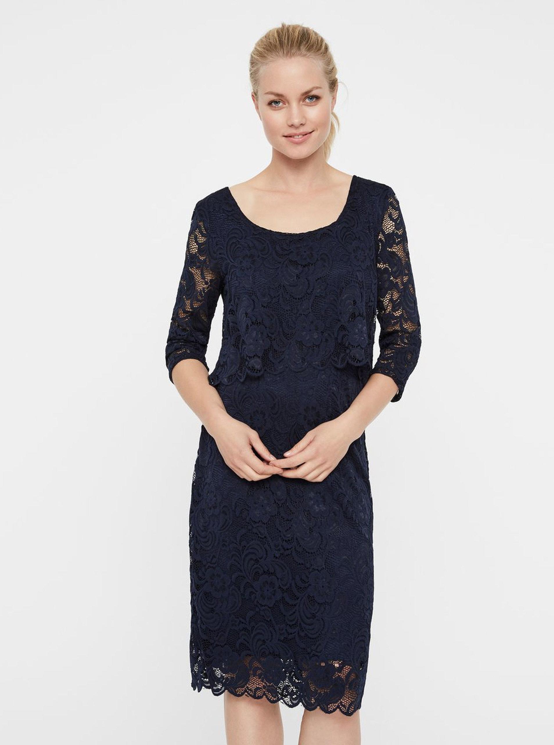 Tmavě modré krajkové těhotenské kojicí šaty s 3 4 rukávy Mama.licious  Mivane ... b228414432