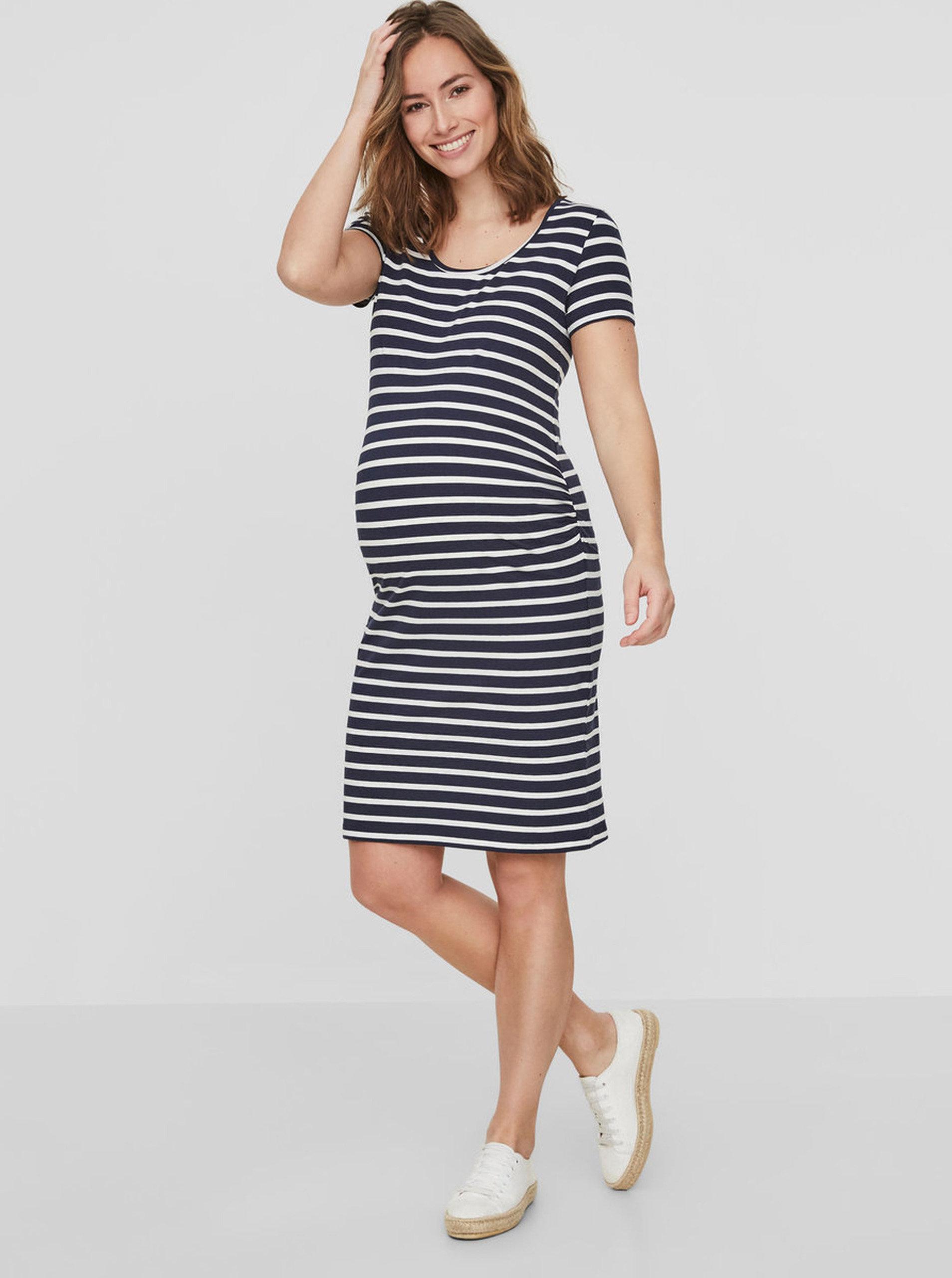 50d7d1de252a Tmavomodré pruhované tehotenské šaty Mama.licious Lea ...