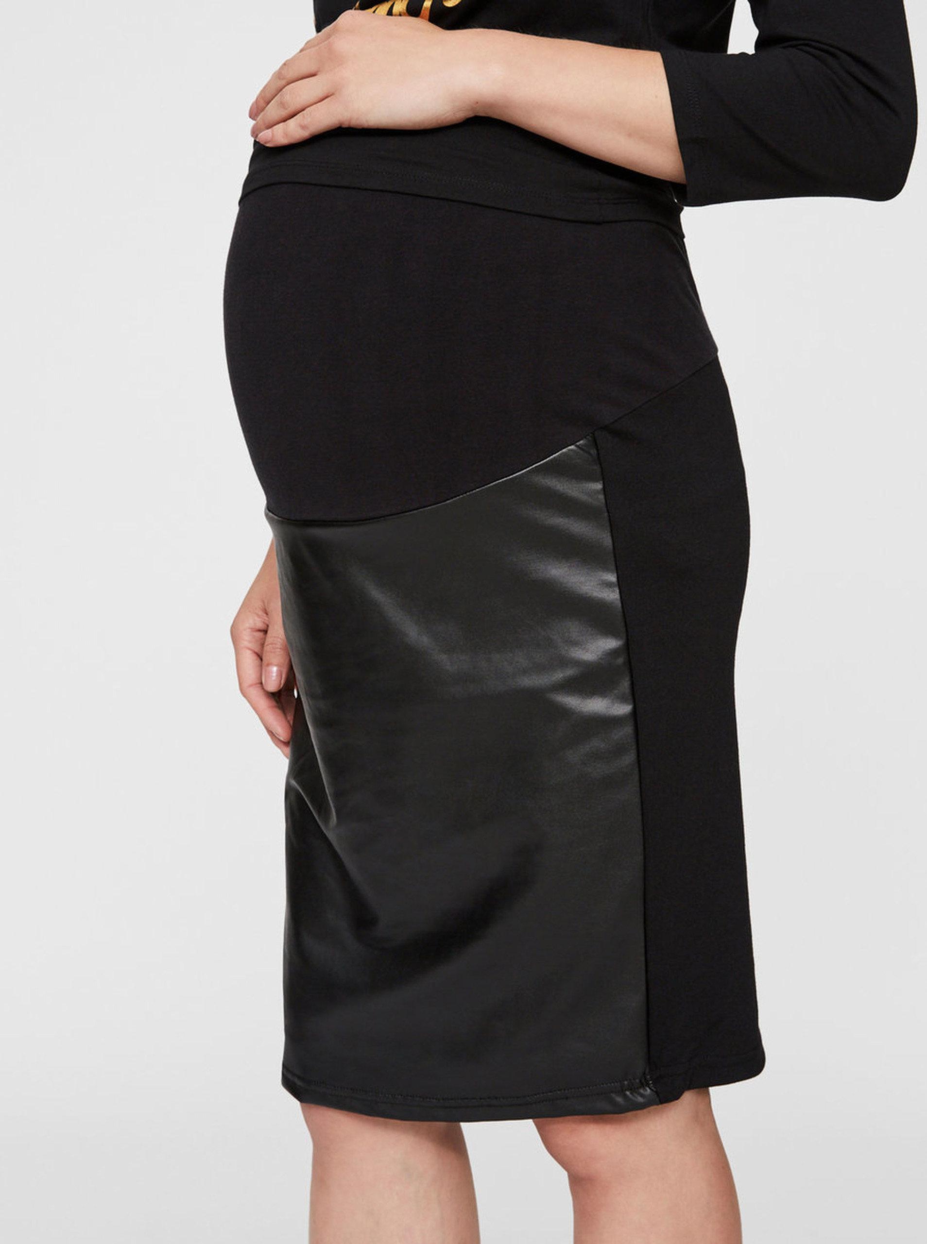 9ab1a41b8b Černá koženková těhotenská sukně Mama.licious ...