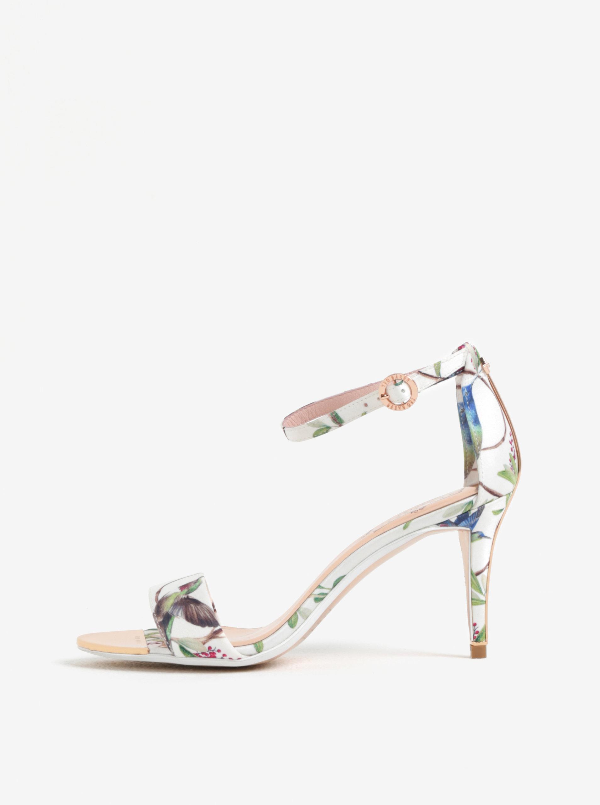Krémové vzorované sandálky na jehlovém podpatku Ted Baker Mavbe ... 5e65aadff2