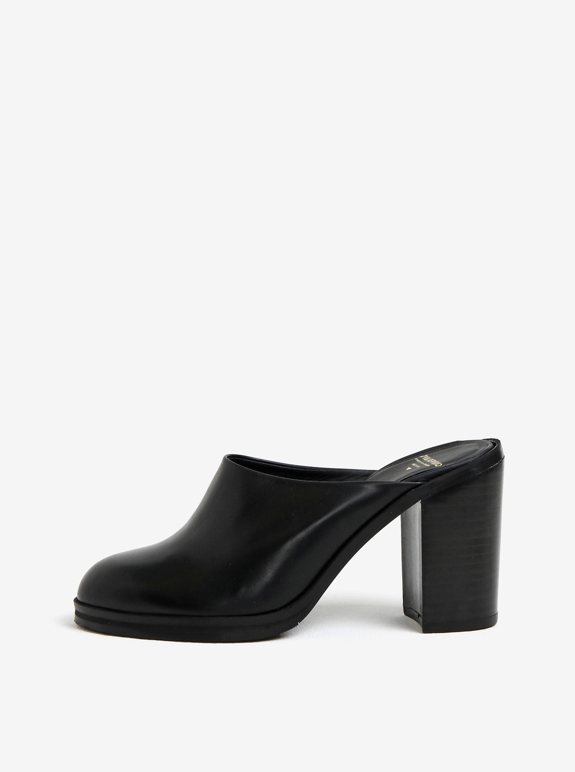 Černé dámské kožené pantofle na podpatku Royal RepubliQ ... 824cc5add3