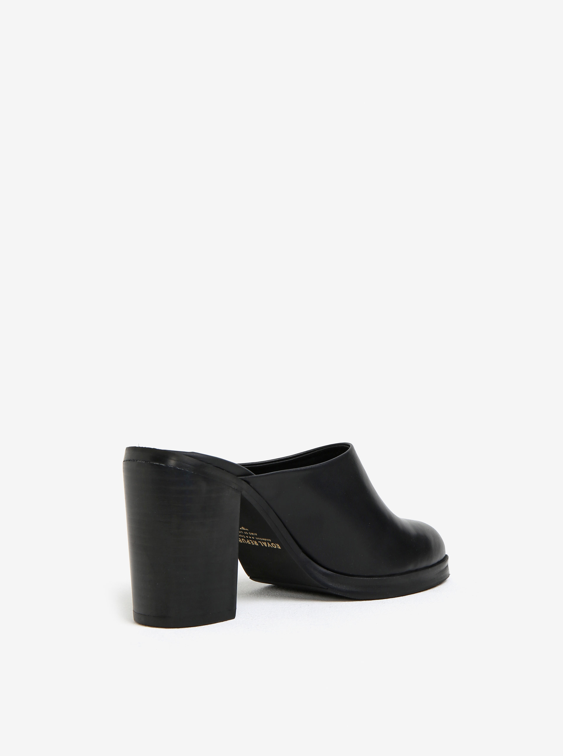 88457367502 Černé dámské kožené pantofle na podpatku Royal RepubliQ ...