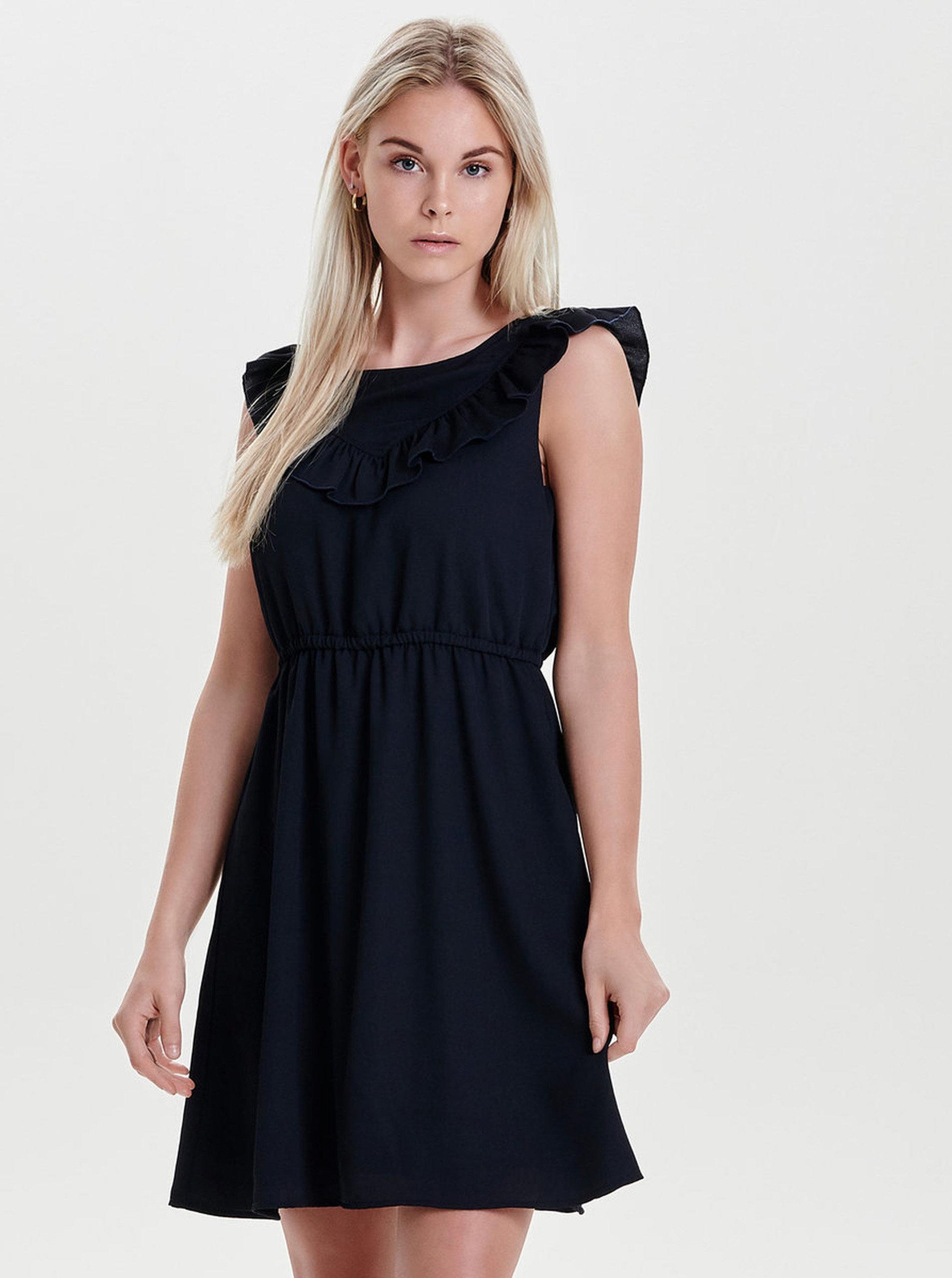 794c7dc51bf Tmavě modré šaty s volánem ONLY Caroline ...