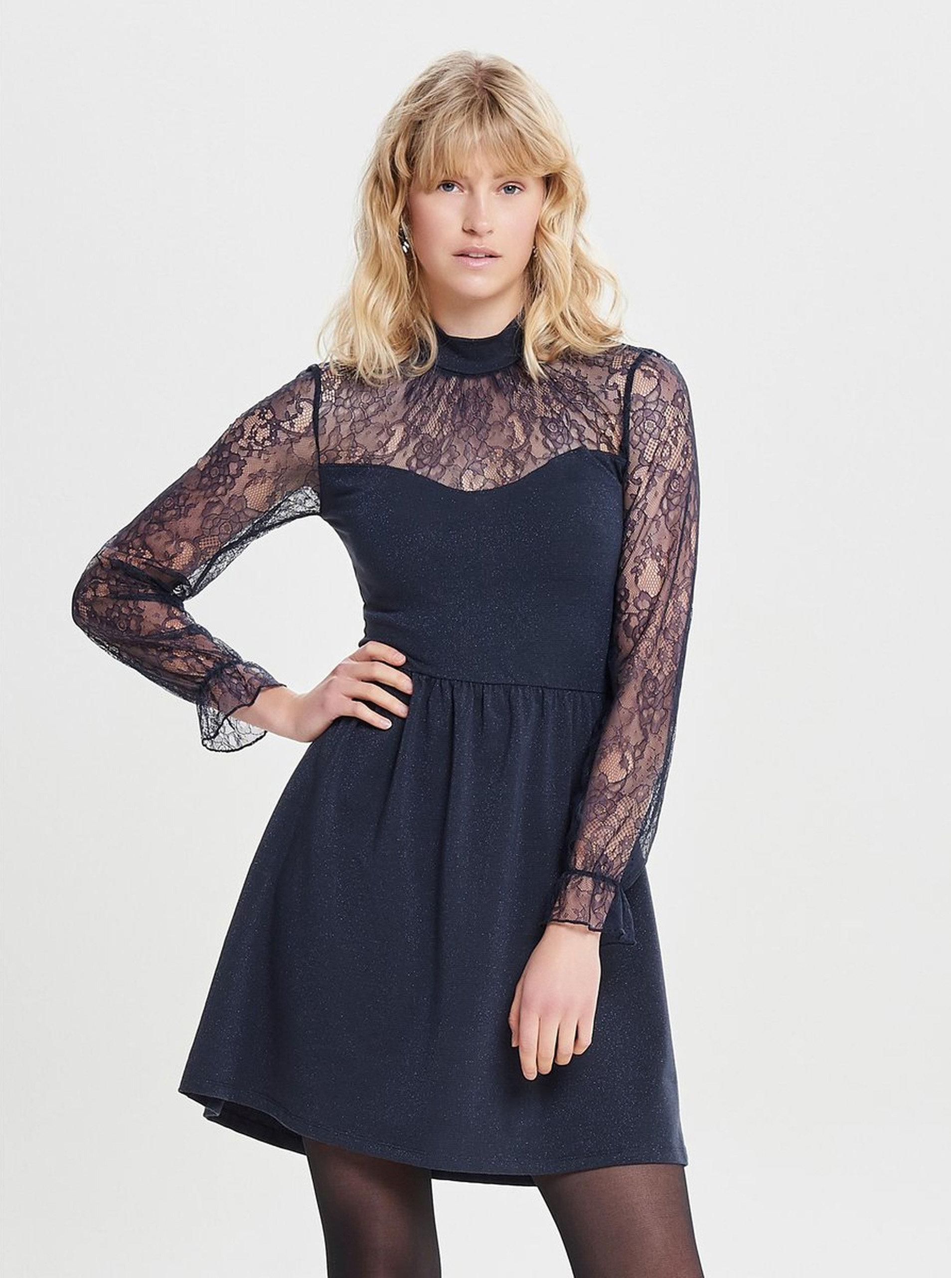 Tmavě modré šaty s krajkou ONLY Lucca ... 182c644573
