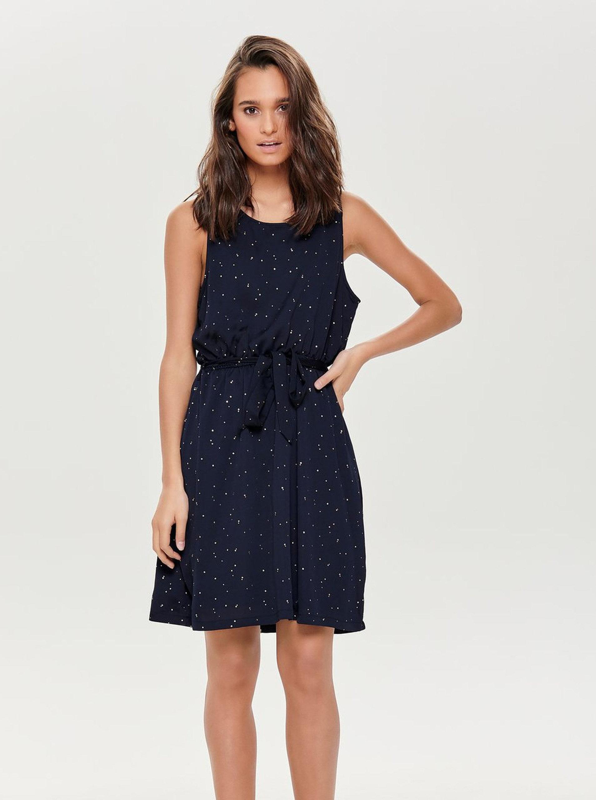 5d0c83ac59e Tmavě modré šaty s puntíky ve zlaté barvě a gumou v pase ONLY Marbella ...