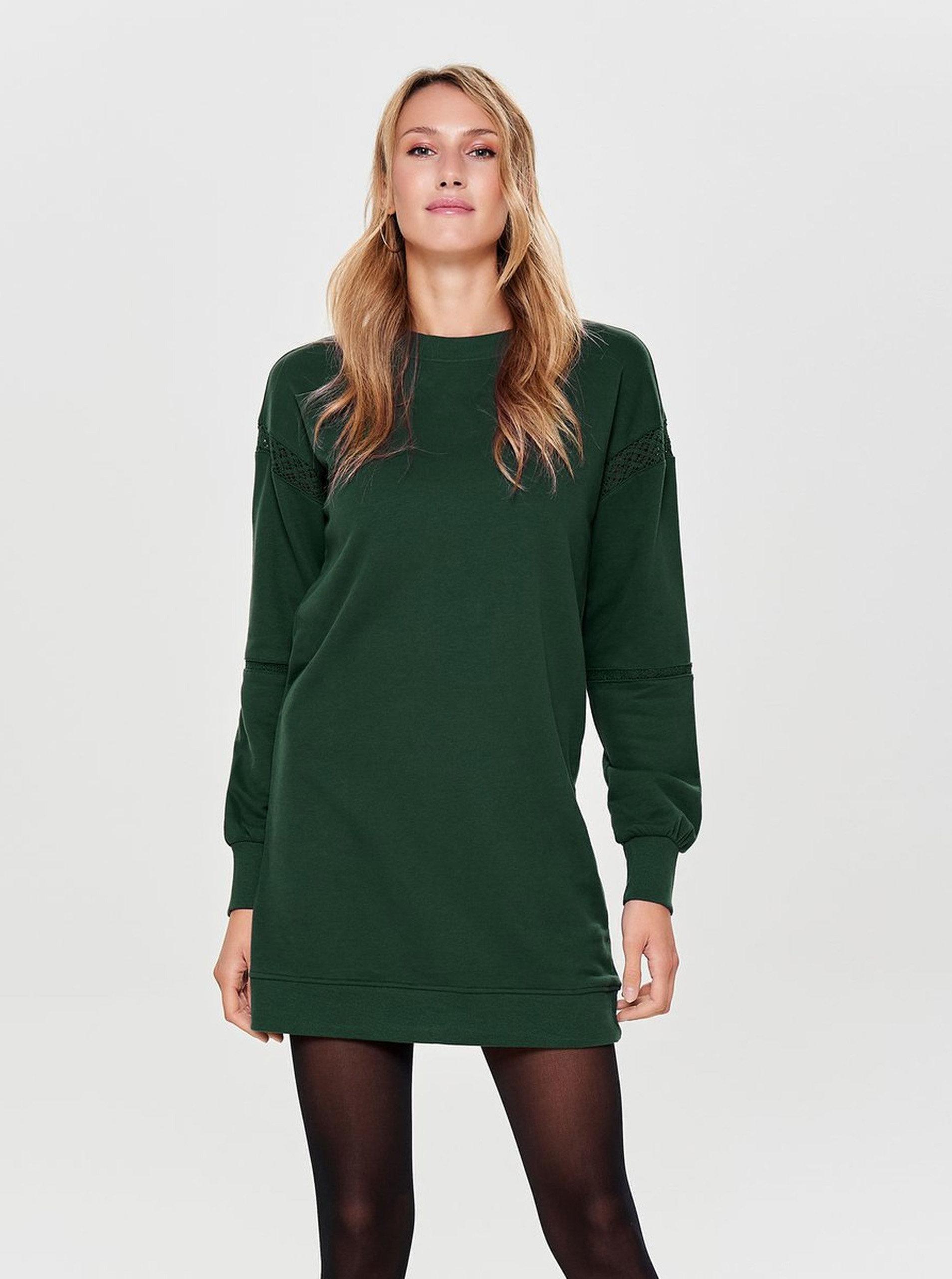 Zelené mikinové šaty ONLY Lisa ... d3875db0a83