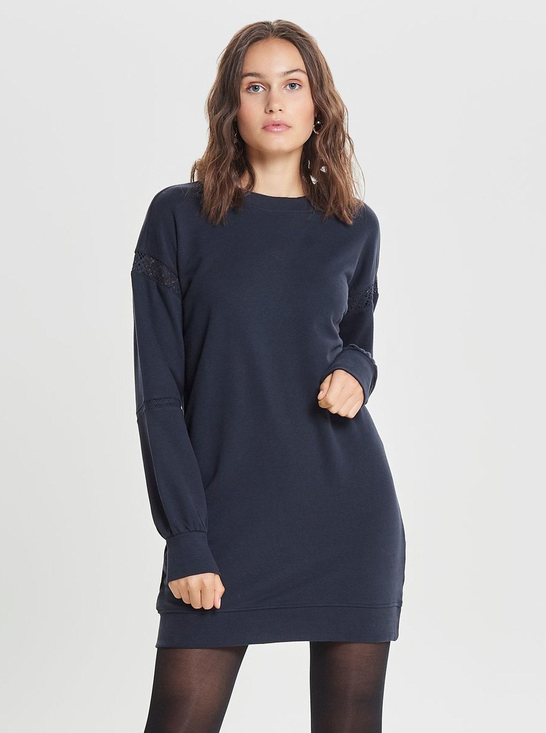 a8e5c33c34d Tmavě modré mikinové šaty s detaily na rukávech ONLY Lisa ...