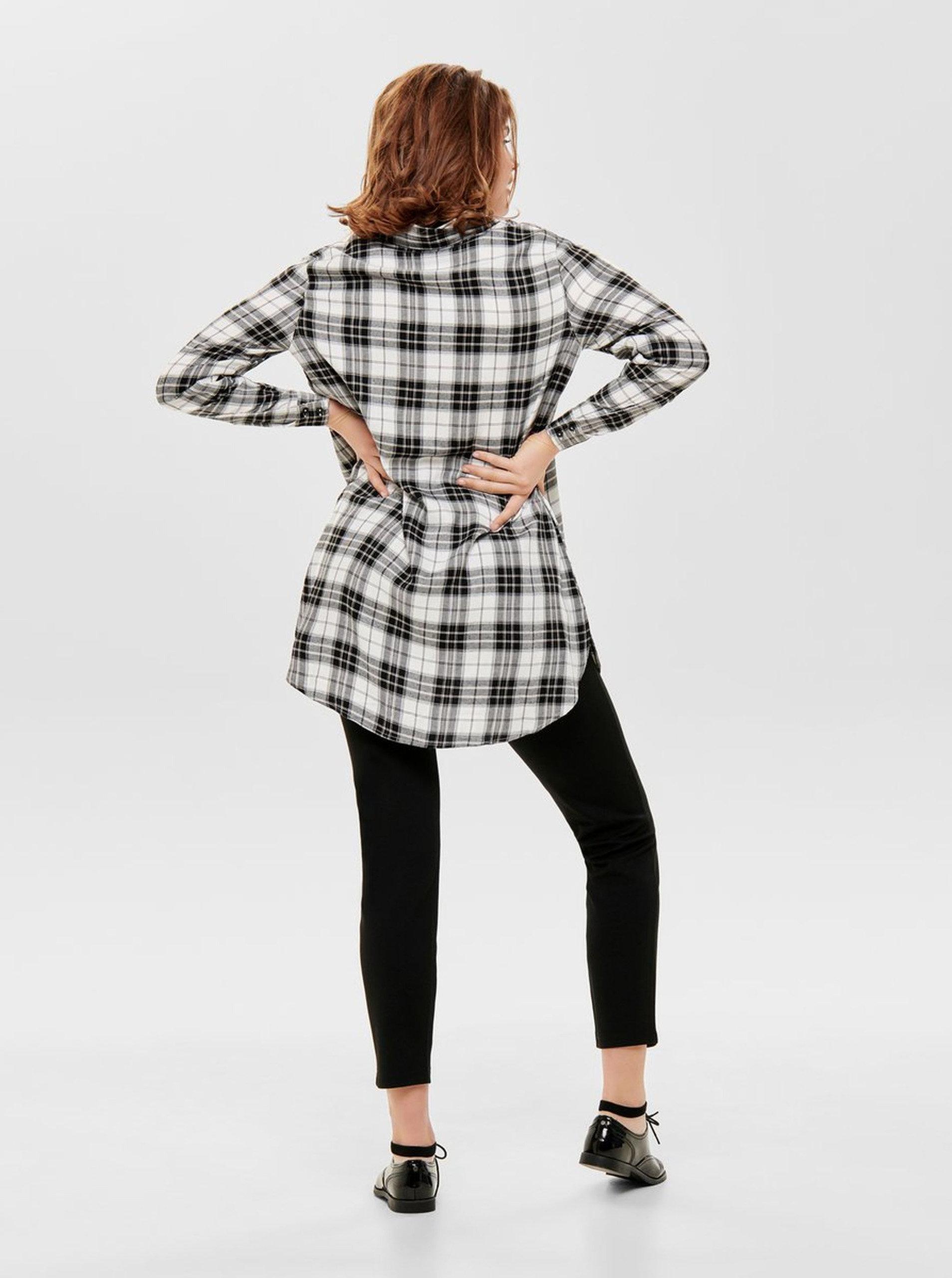 d3d0ff6b46f6 Čierno–biela dlhá károvaná košeľa ONLY ...