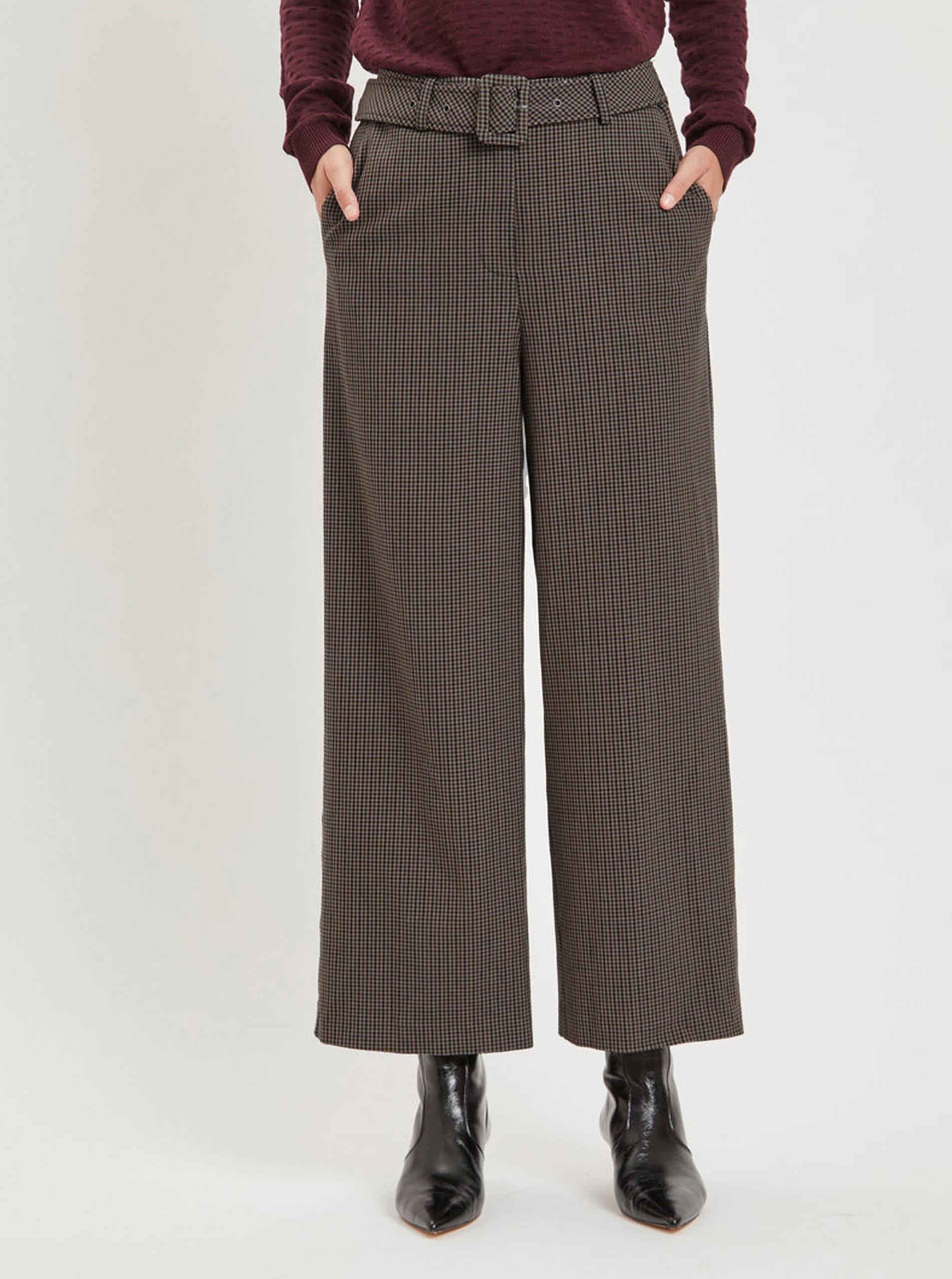 9086bee1a4d Hnědé široké kostkované kalhoty s páskem VILA Lub ...