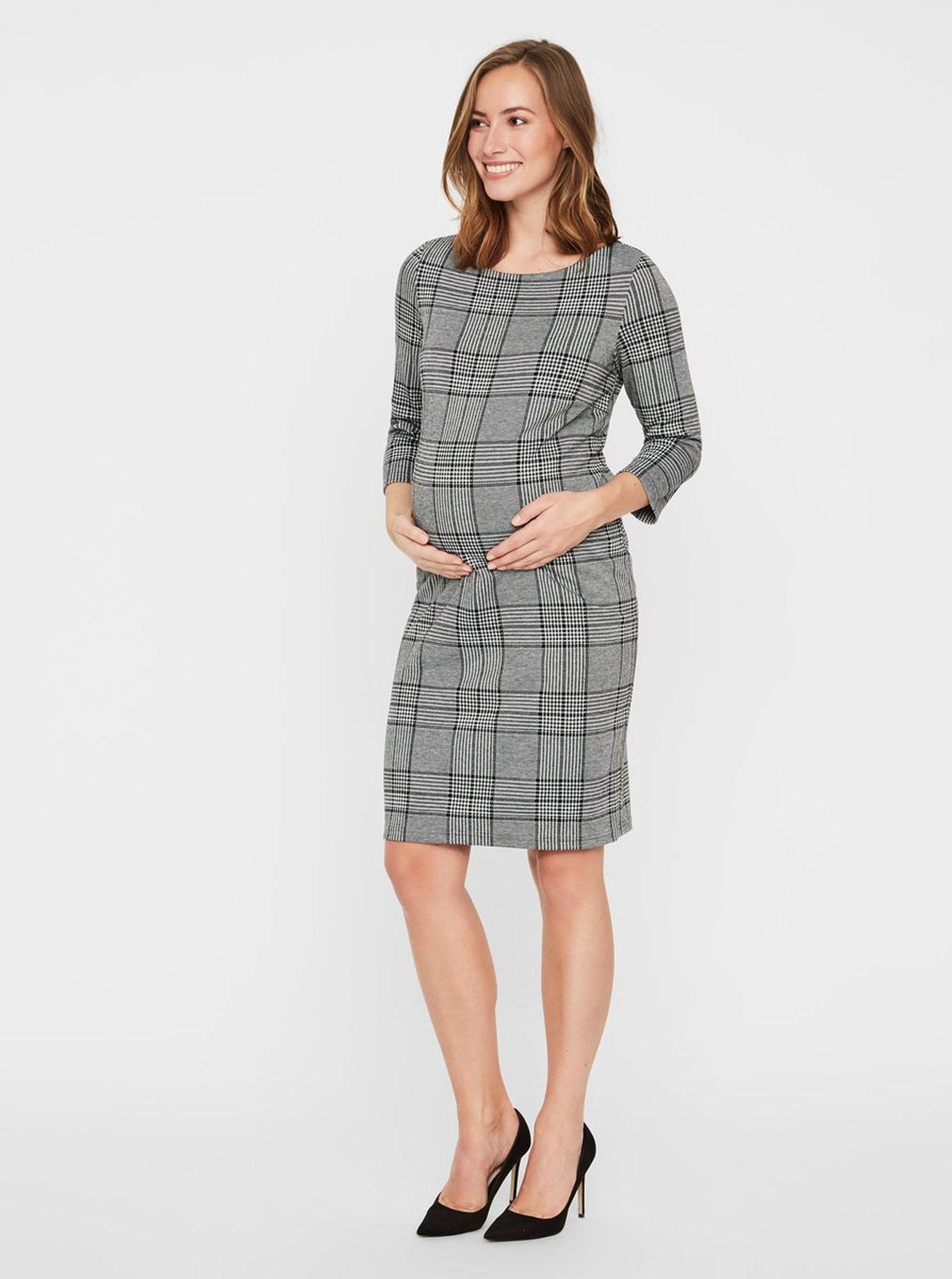 f905236d52e2 Sivé tehotenské vzorované šaty s 3 4 rukávom Mama.licious Nataly ...