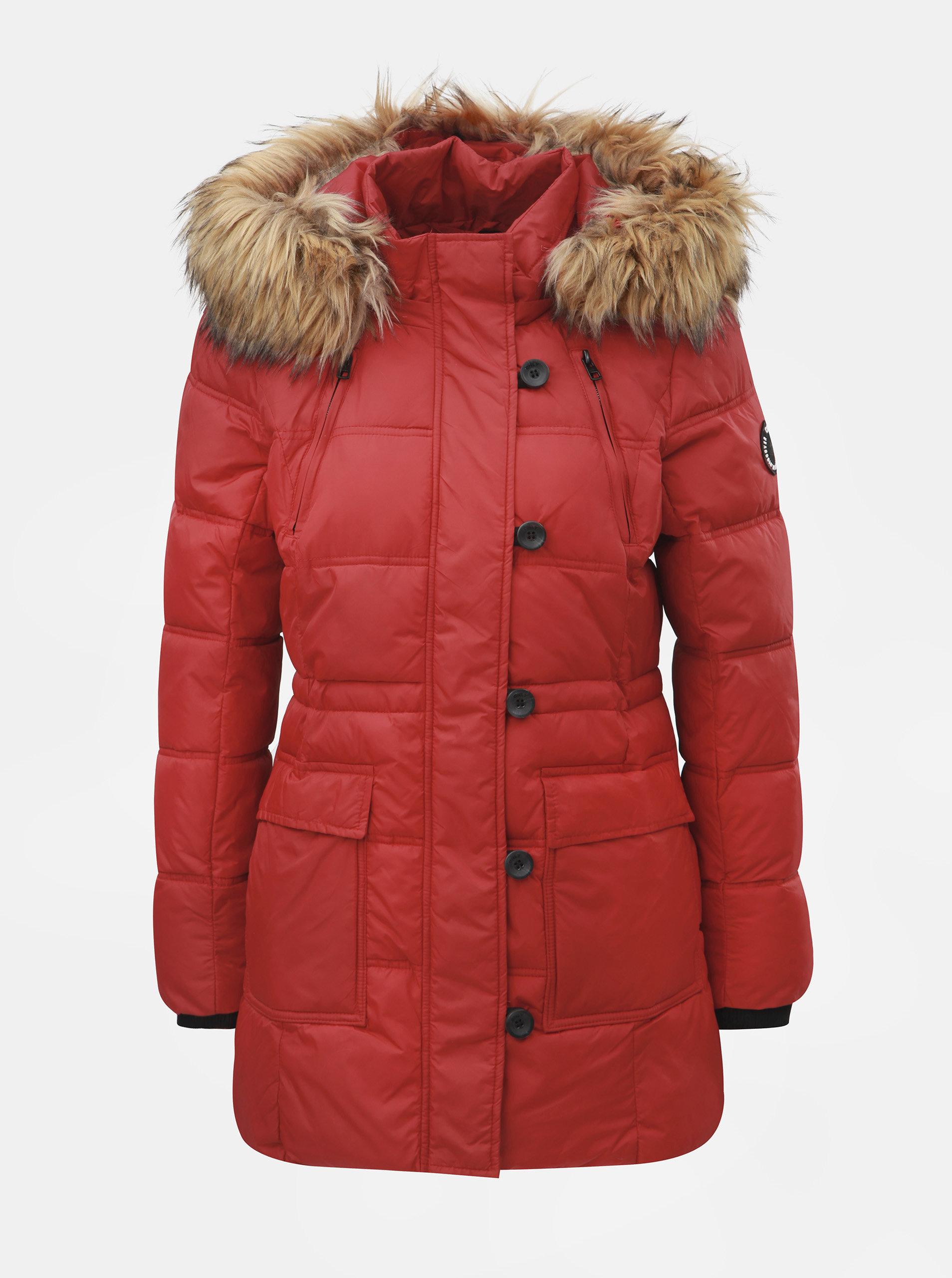 Červený prešívaný zimný kabát s odnímateľnou kapucňou ONLY Newottowa ... 25011d837ac