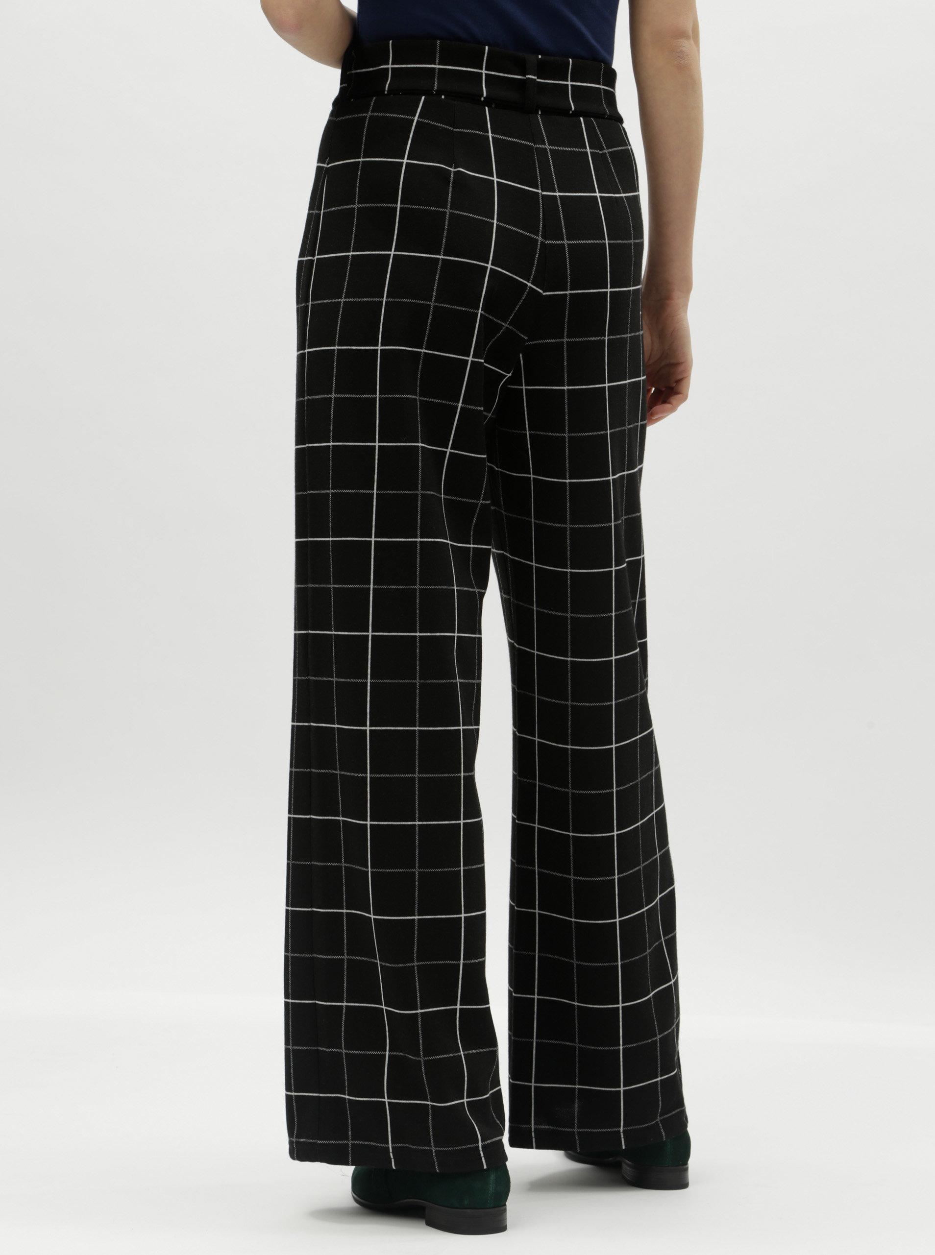 f287a175c41 Černé široké kostkované kalhoty s vysokým pasem Miss Selfridge Petites ...