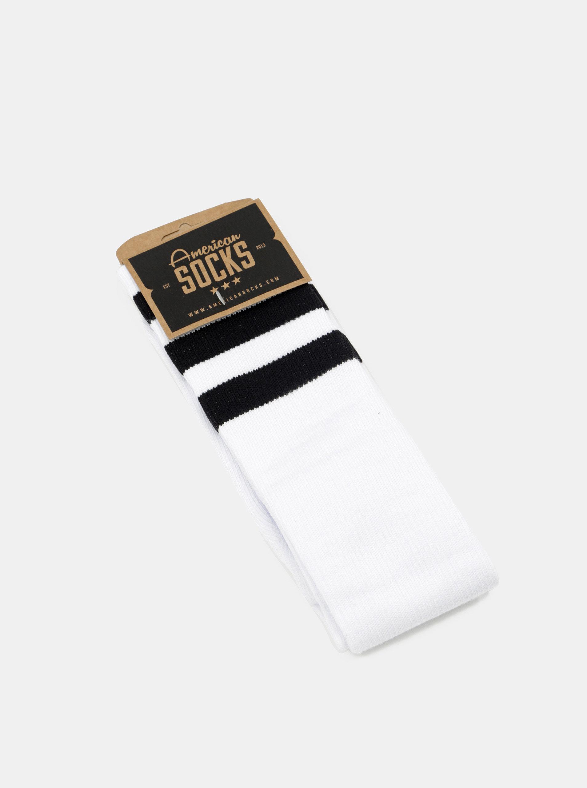 Bílé unisex podkolenky s černými pruhy American Socks ... 2fb7e5440c