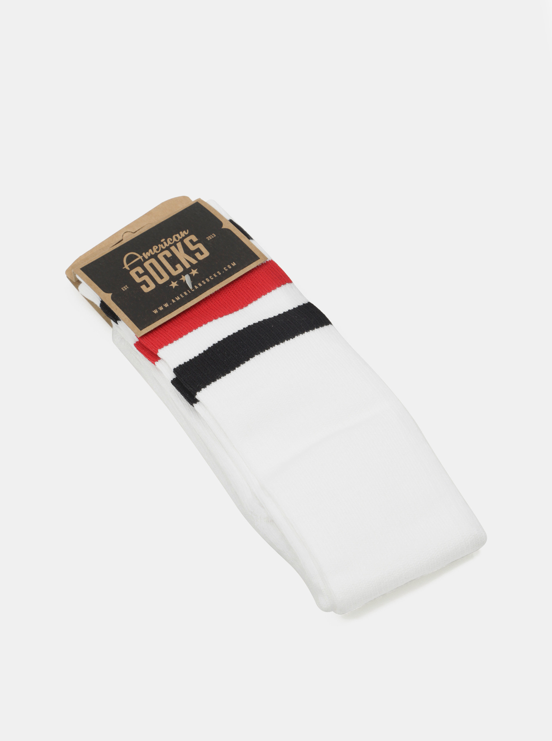 Bílé unisex podkolenky s pruhy American Socks ... 0571e05cd1