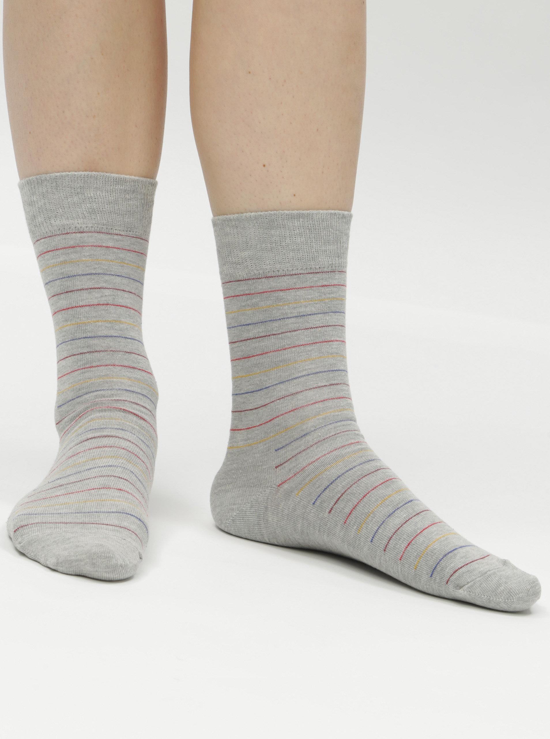 Šedé pruhované ponožky Happy Socks Thin Stripe ... ece79ef65d