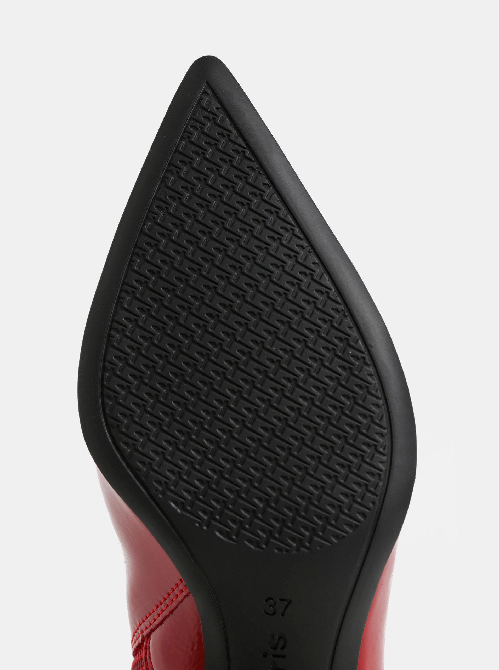 46e9299d95b1 Červené lesklé členkové topánky na nízkom podpätku Tamaris ...