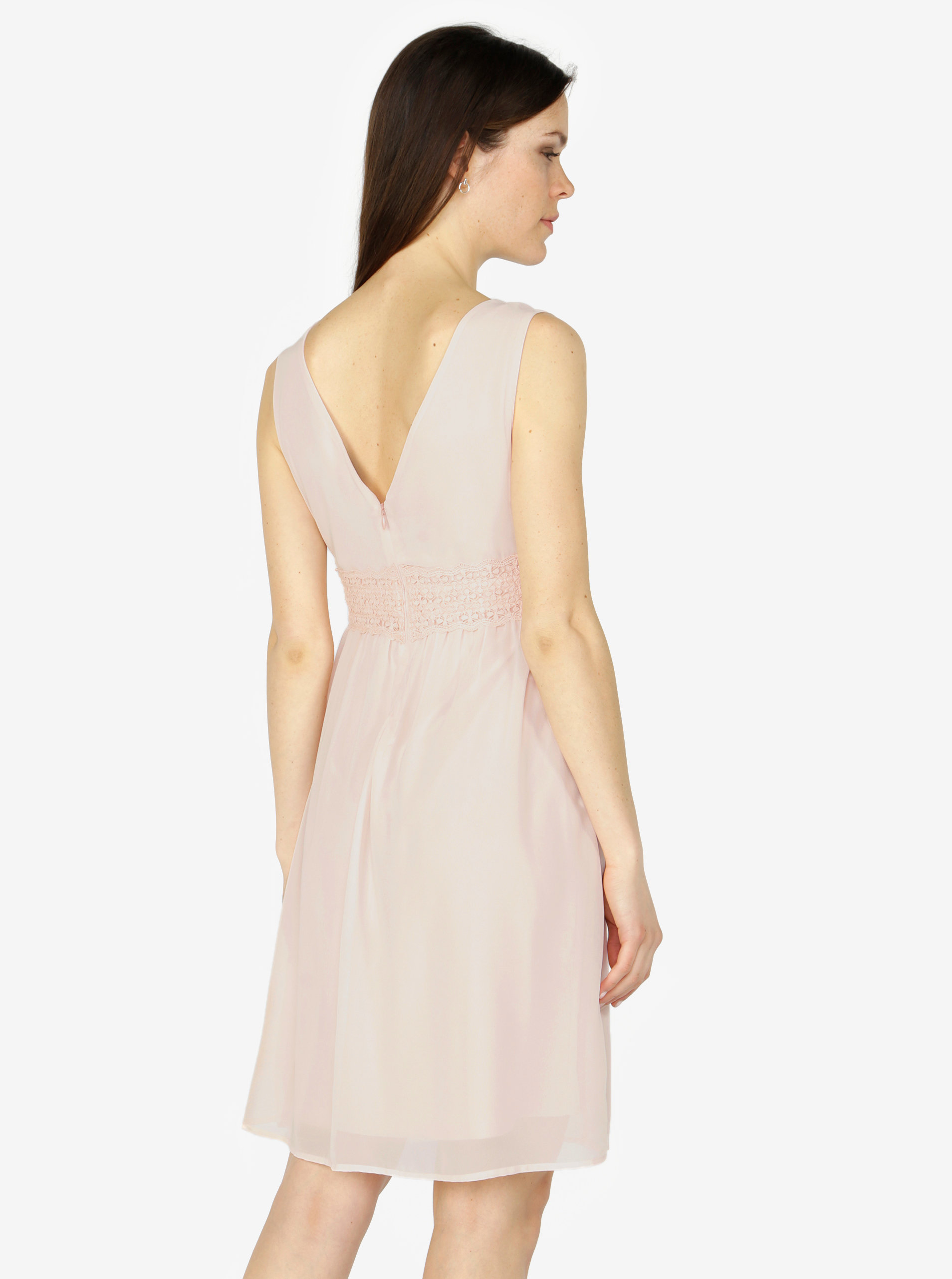 ffdf241938b6 Světle růžové šaty s véčkovým výstřihem VERO MODA Mira ...