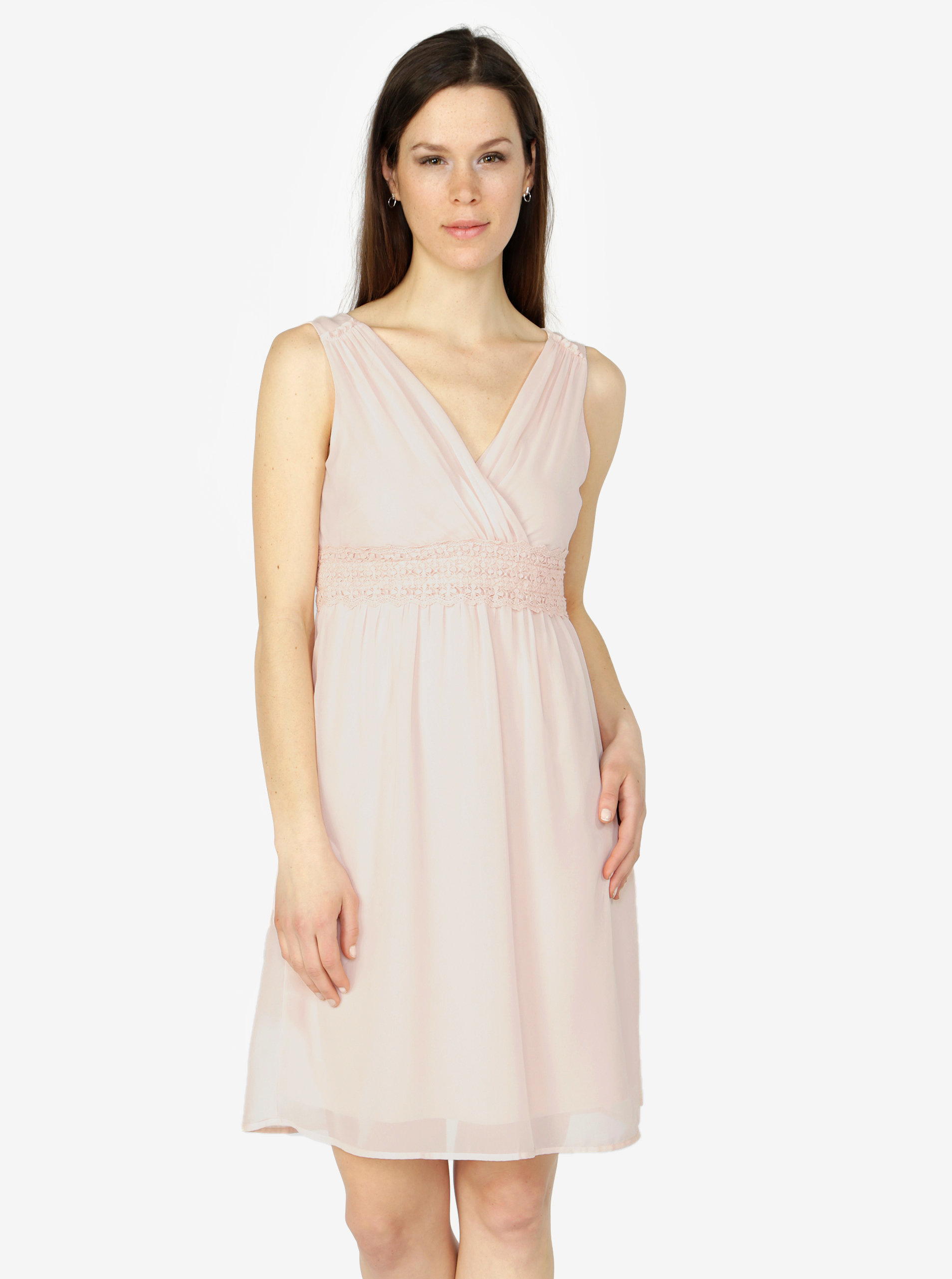 Světle růžové šaty s véčkovým výstřihem VERO MODA Mira ... 8e2016f8f0
