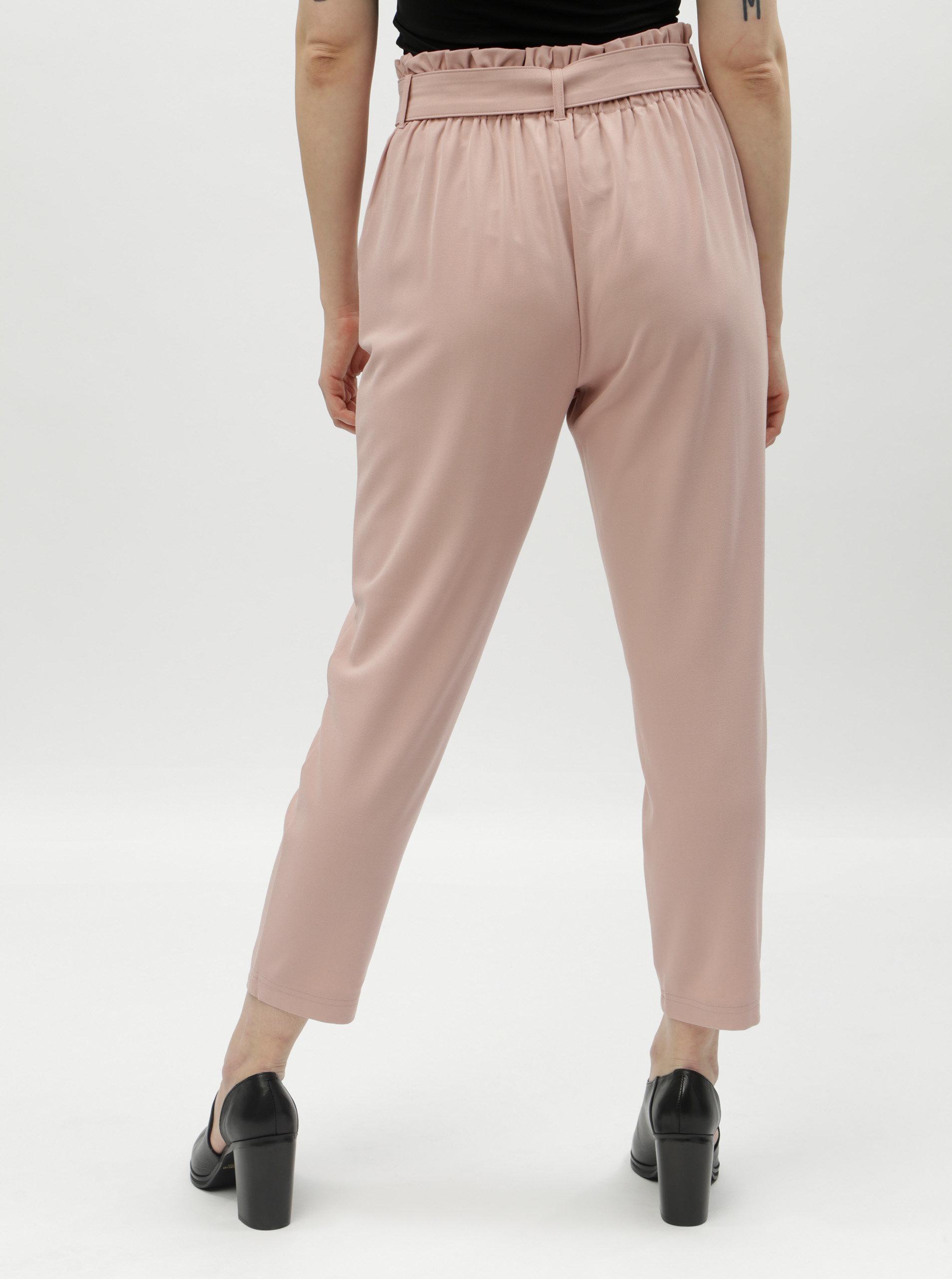 65b1d6ed2fe Růžová zkrácené kalhoty s vysokým pasem TALLY WEiJL ...