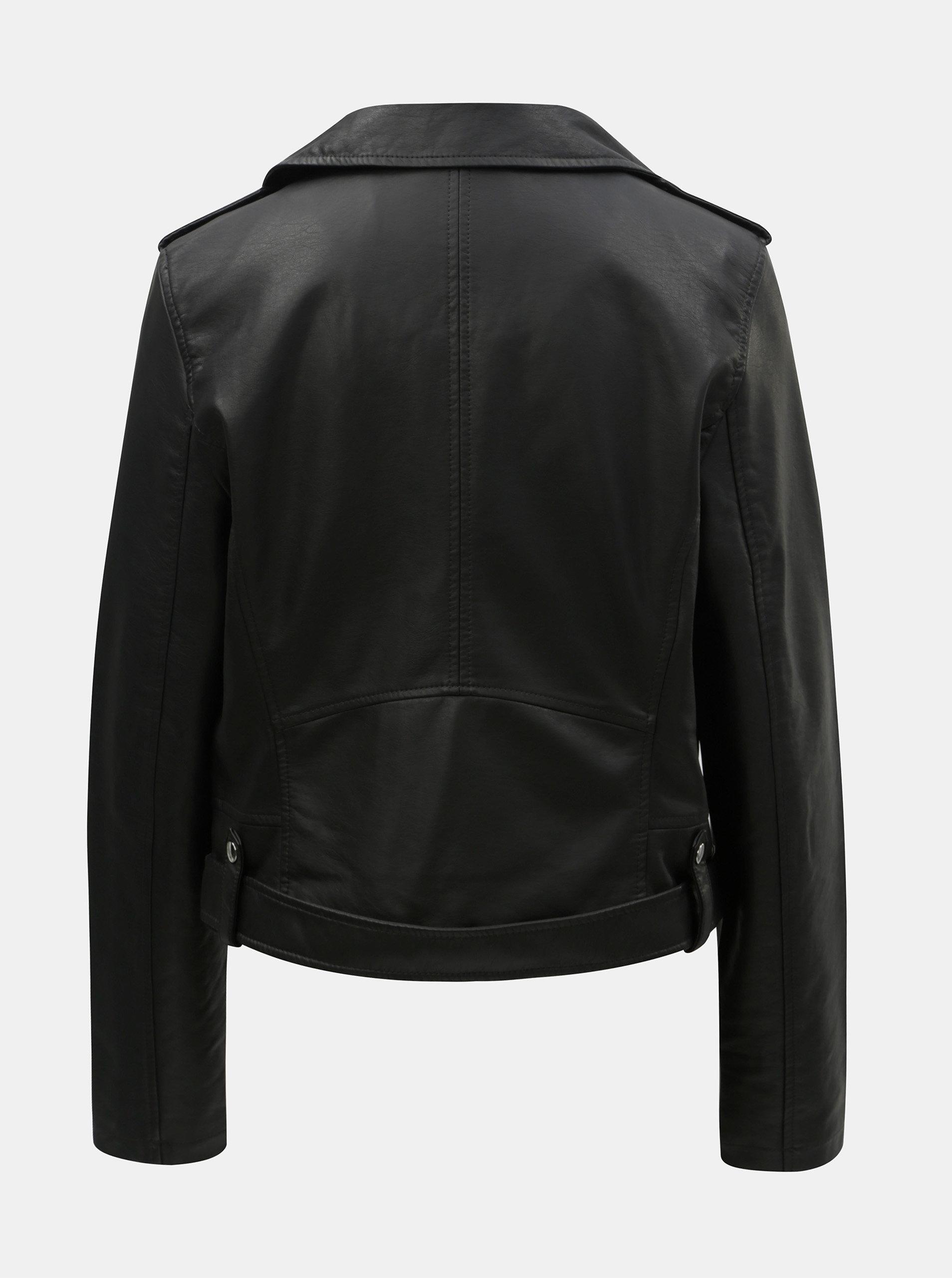 726e5e821d31 Čierna koženková bunda s opaskom TALLY WEiJL ...