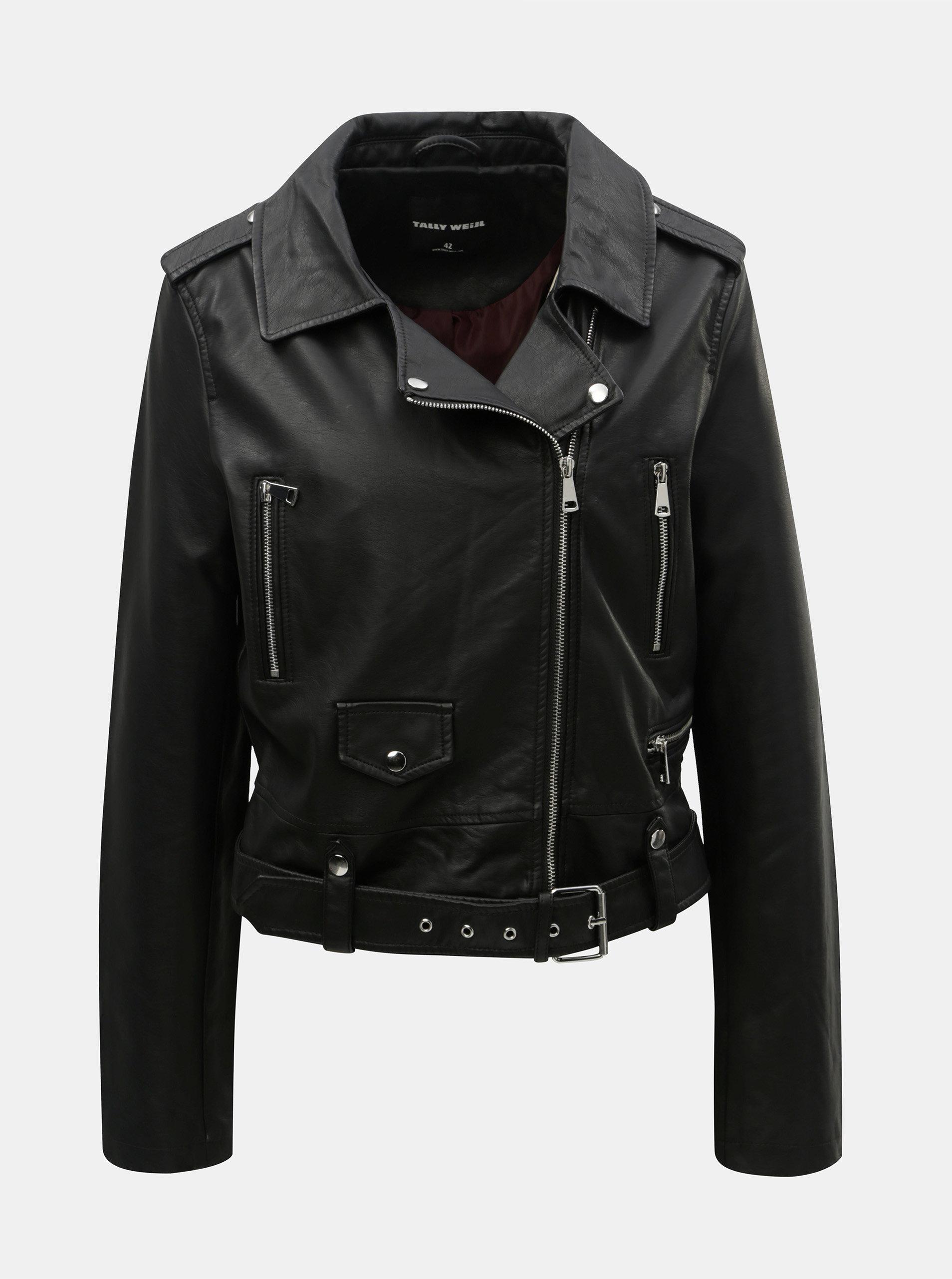 Čierna koženková bunda s opaskom TALLY WEiJL ... 8f7283f3546
