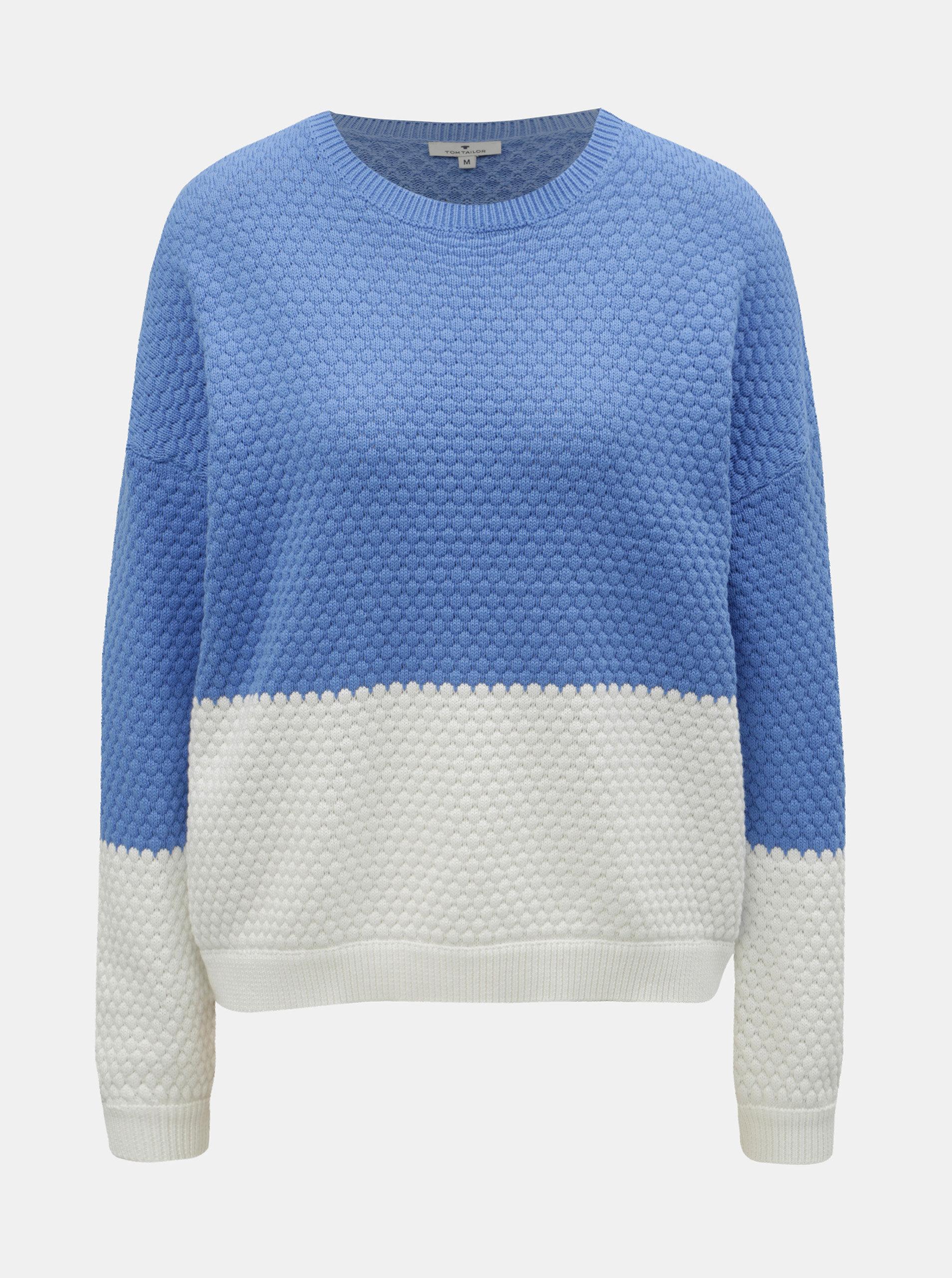 d1897b70ab68 Bielo–modrý dámsky sveter Tom Tailor ...