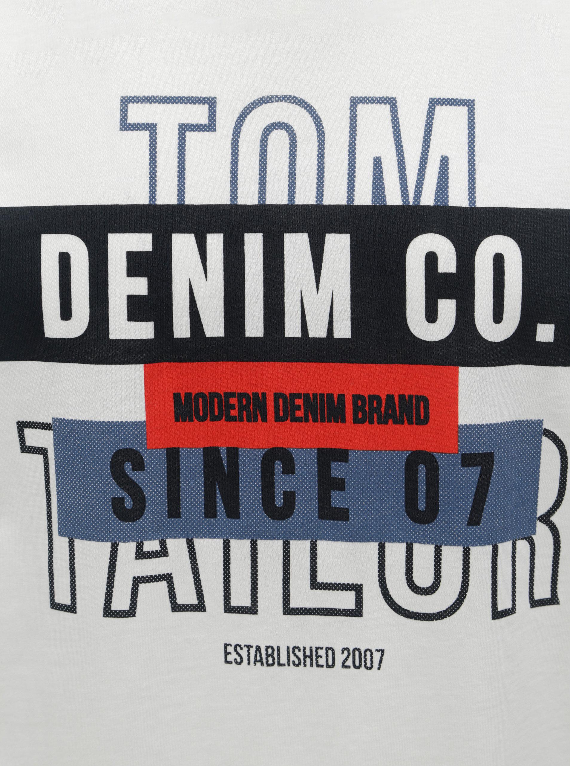 764495a751ed Biele pánske tričko s krátkym rukávom Tom Tailor Denim ...