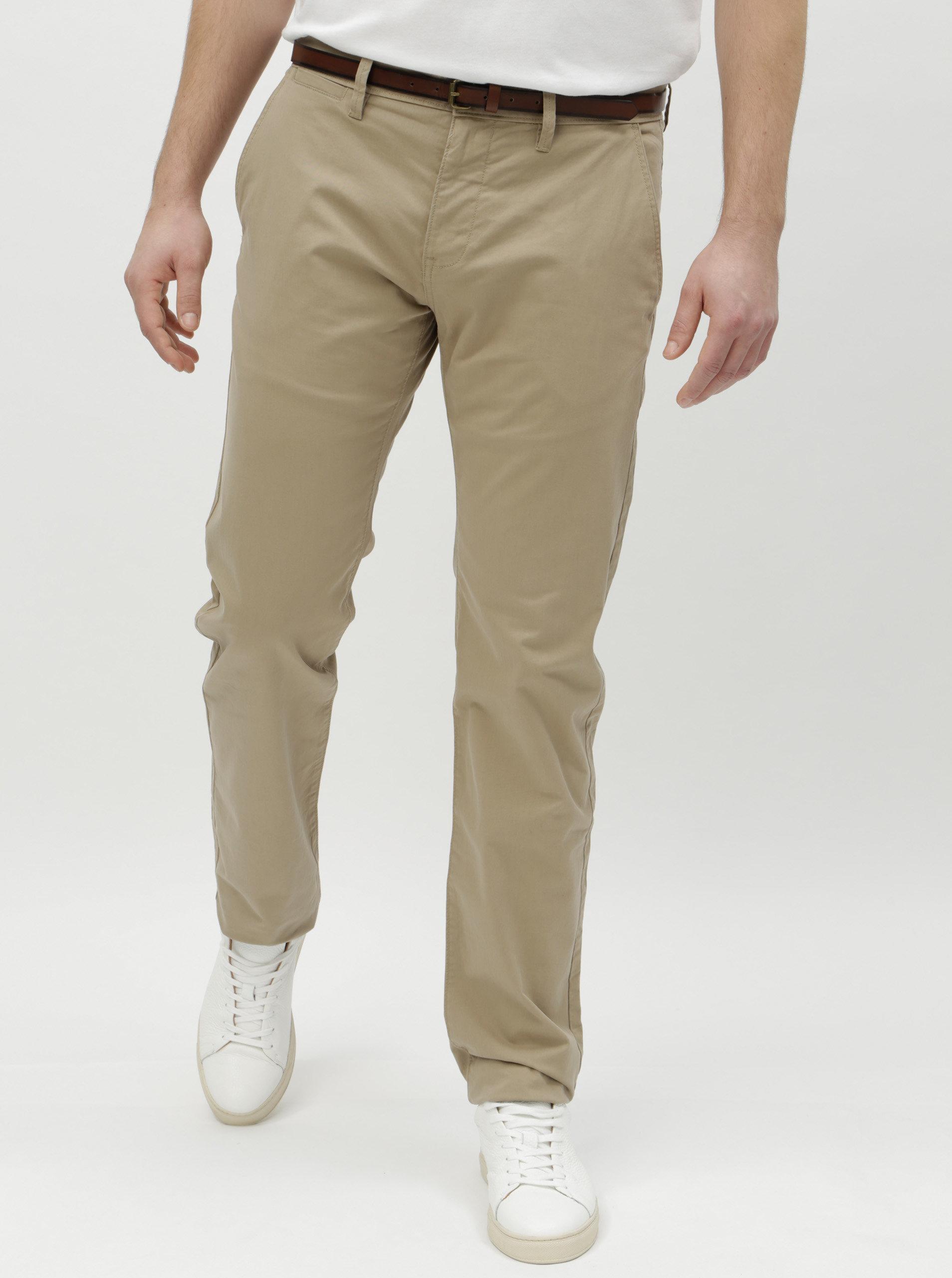 97e9eda03853 Béžové pánske chino nohavice s opaskom Tom Tailor ...