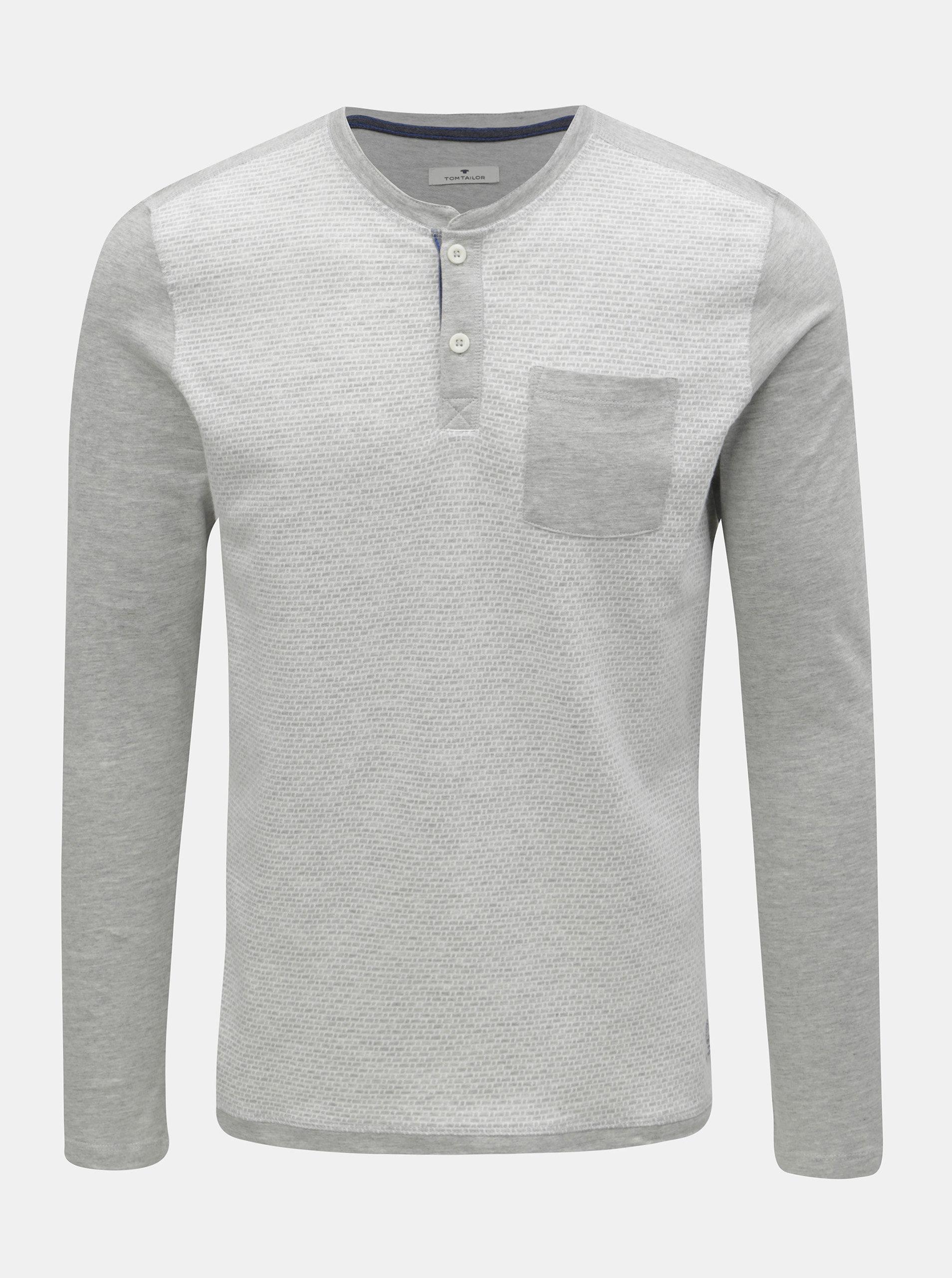 1a344247b493 Svetlosivé pánske melírované tričko s náprsným vreckom Tom Tailor ...