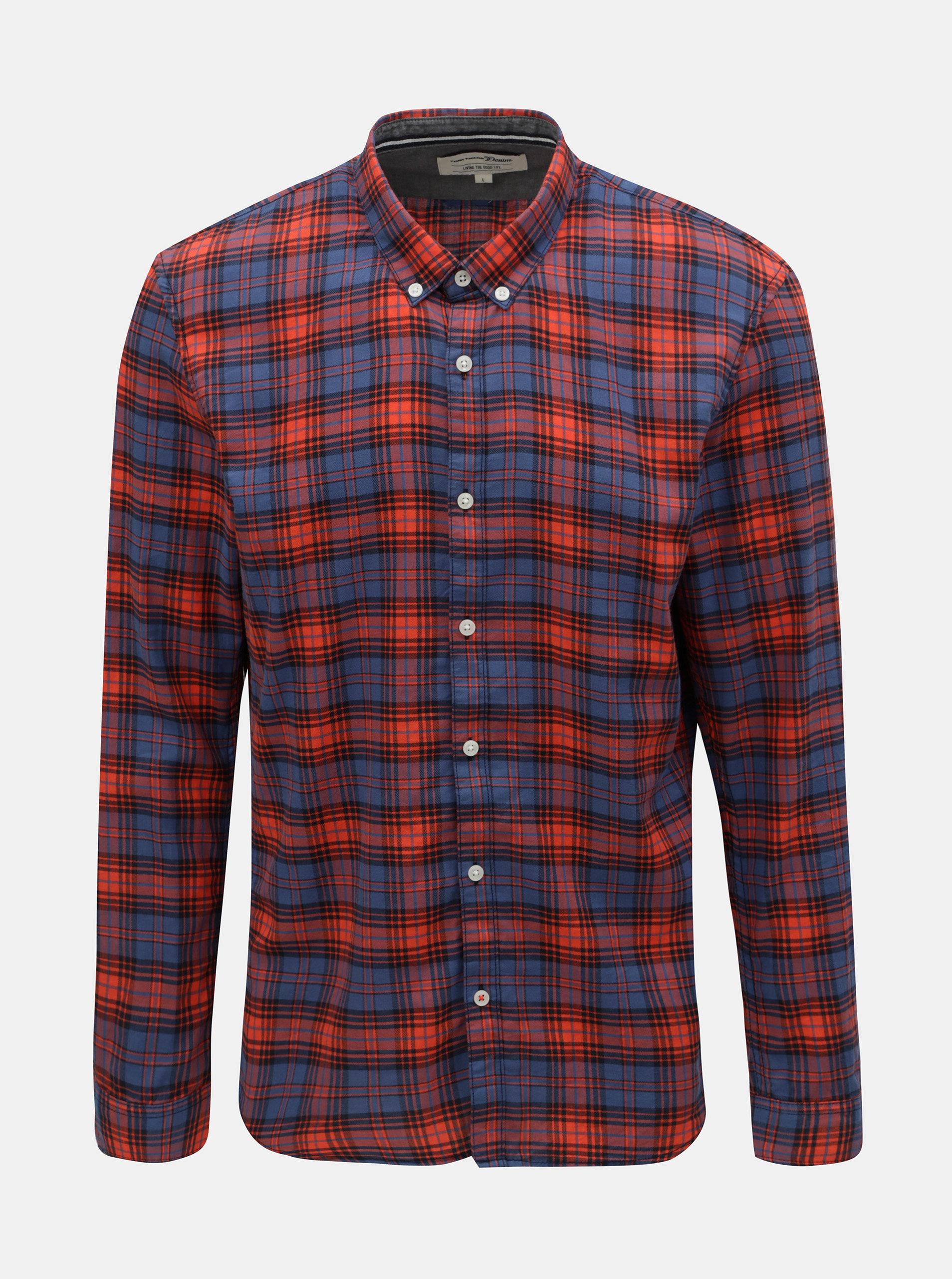 cf74709dad8 Modro-červená pánská kostkovaná košile Tom Tailor Denim ...
