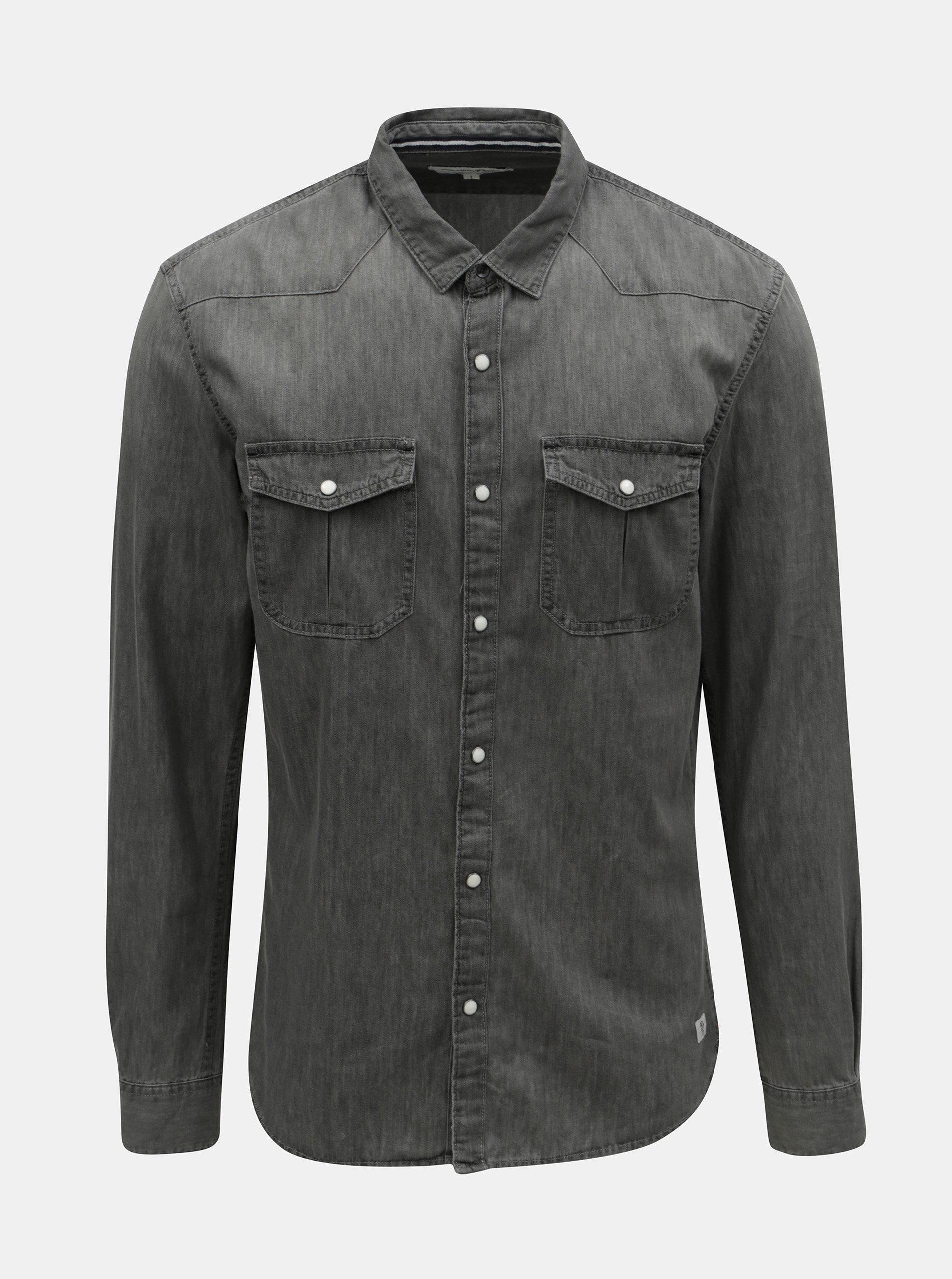 Šedá pánská džínová košile Tom Tailor Denim ... 0a12d3c065