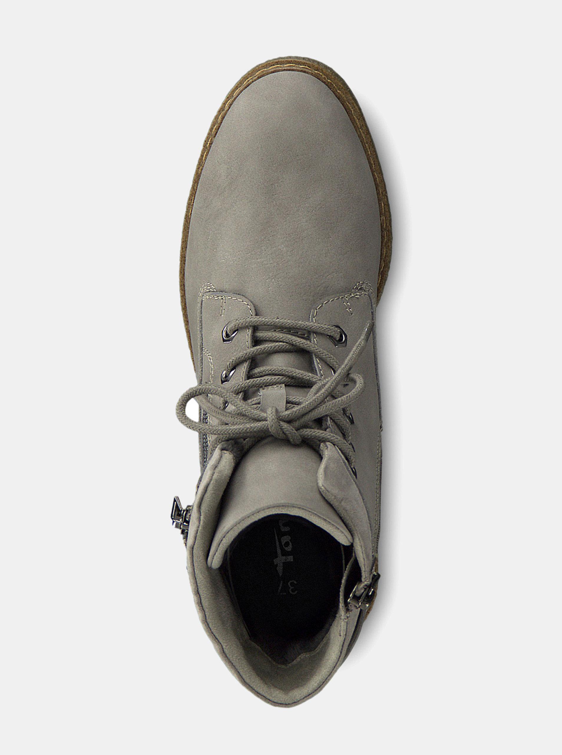 f42e67aae5 Sivé členkové topánky na podpätku Tamaris ...
