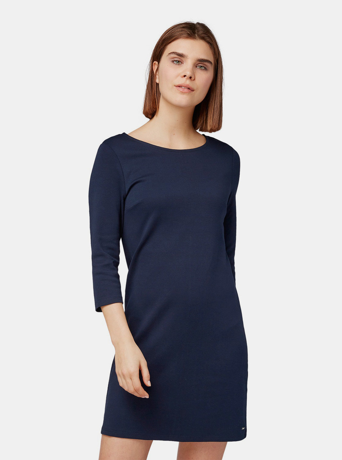 Tmavě modré šaty s 3 4 rukávem Tom Tailor Denim ... 7e8800145ea